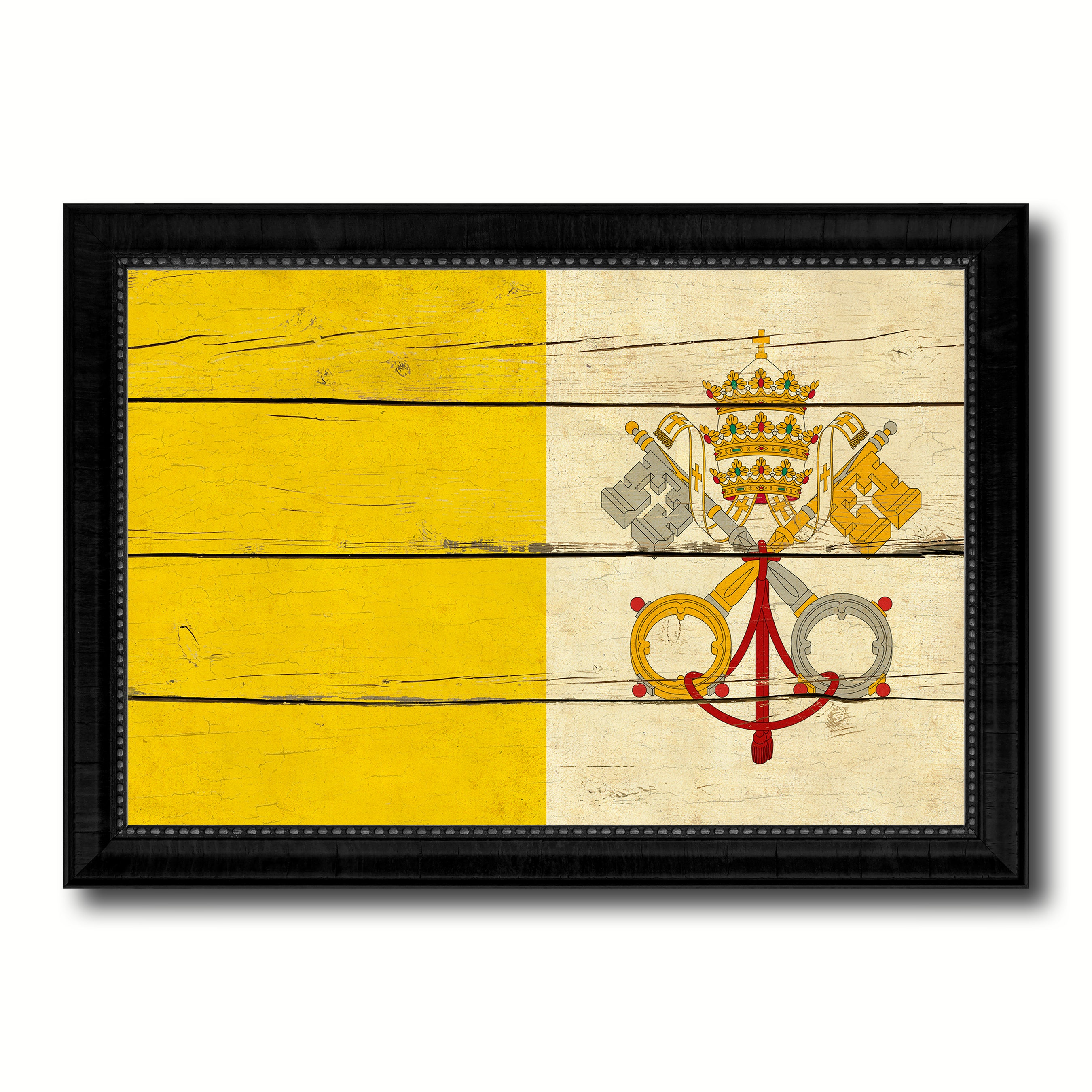 Vatican City Country Flag Vintage Canvas Print with Black Picture Frame Home Decor Gifts Wall Art Decoration Artwork