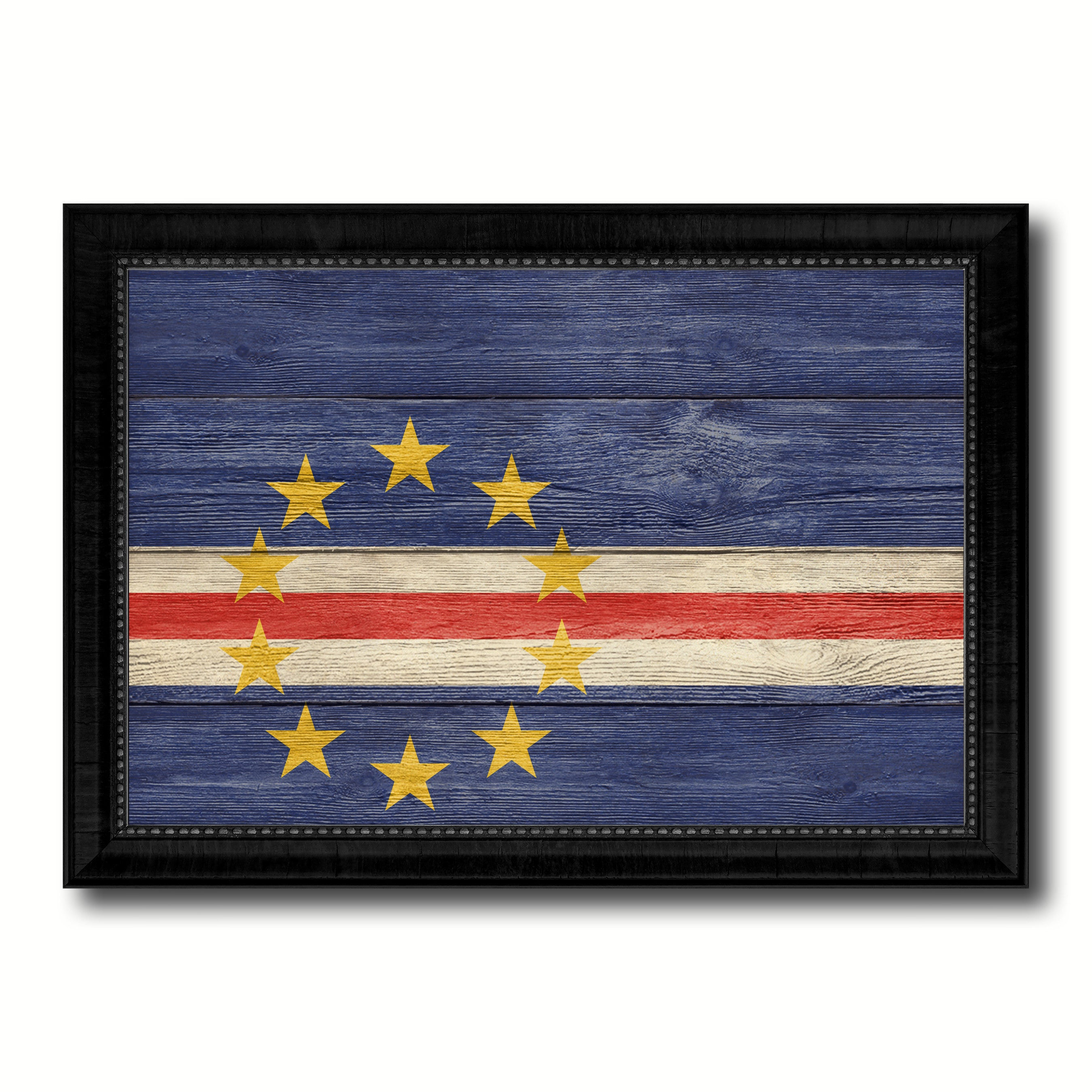 Cape Verde Country Flag Texture Canvas Print with Black Picture Frame Home Decor Wall Art Decoration Collection Gift Ideas