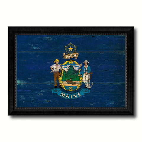 Maine State Vintage Flag Canvas Print with Black Picture Frame Home Decor Man Cave Wall Art Collectible Decoration Artwork Gifts