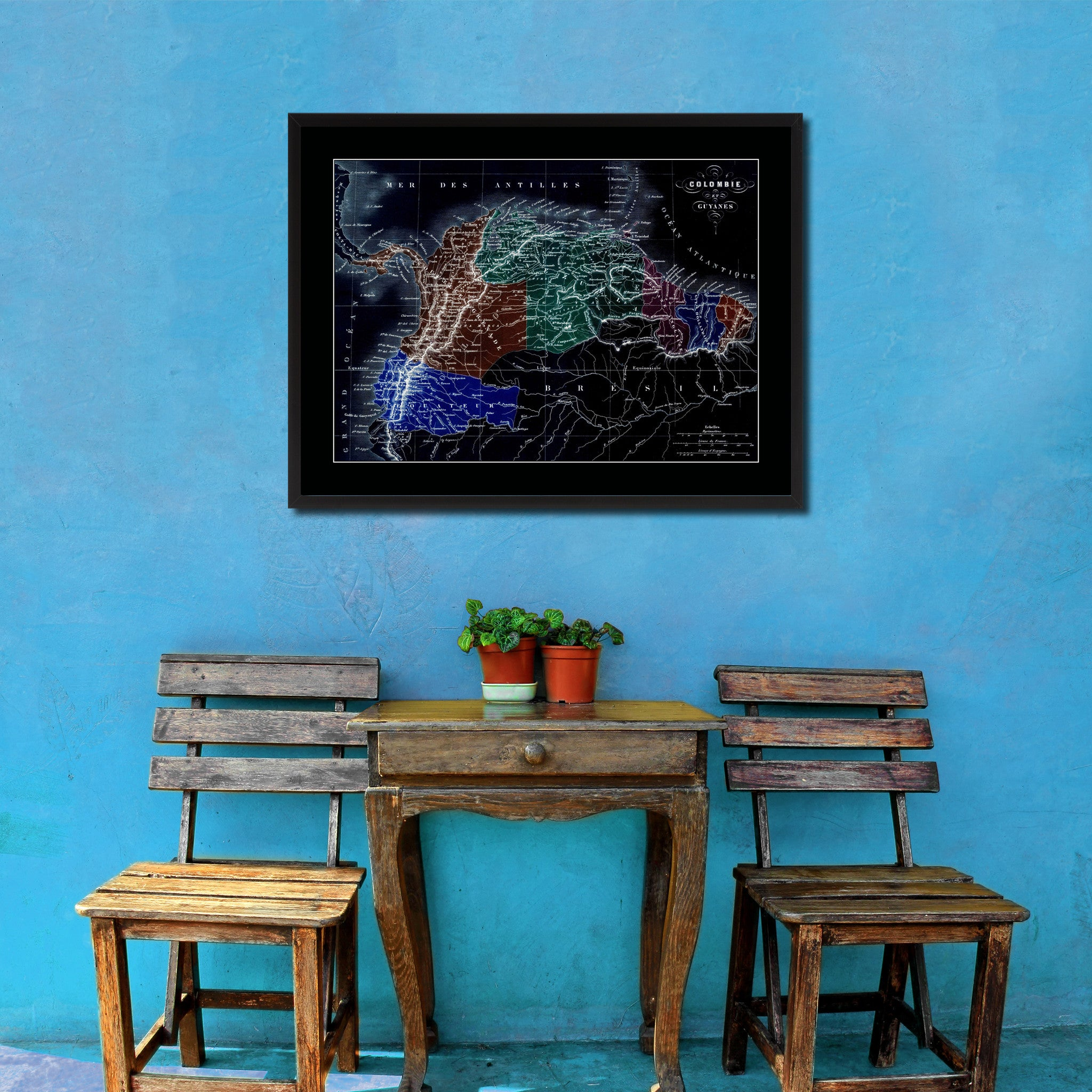 Columbia Venezuela Guianna Vintage Vivid Color Map Canvas Print, Picture Frame Home Decor Wall Art Office Decoration Gift Ideas