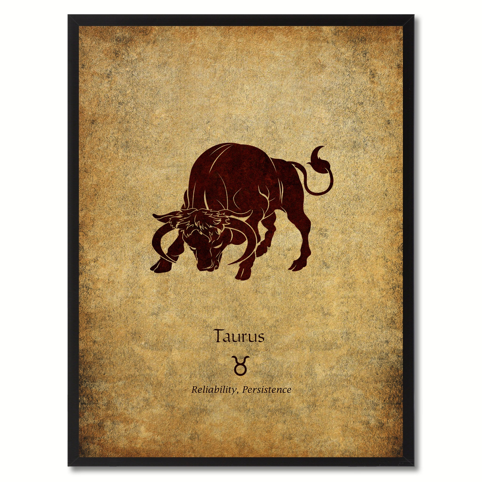 Zodiac Taurus Horoscope Astrology Canvas Print, Black Picture Frame Gifts  Home Decor Wall Art Decoration