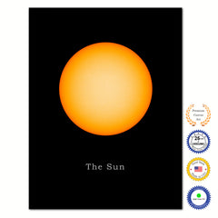 Sun Print on Canvas Planets of Solar System Black Custom Framed Art Home Decor Wall Office Decoration