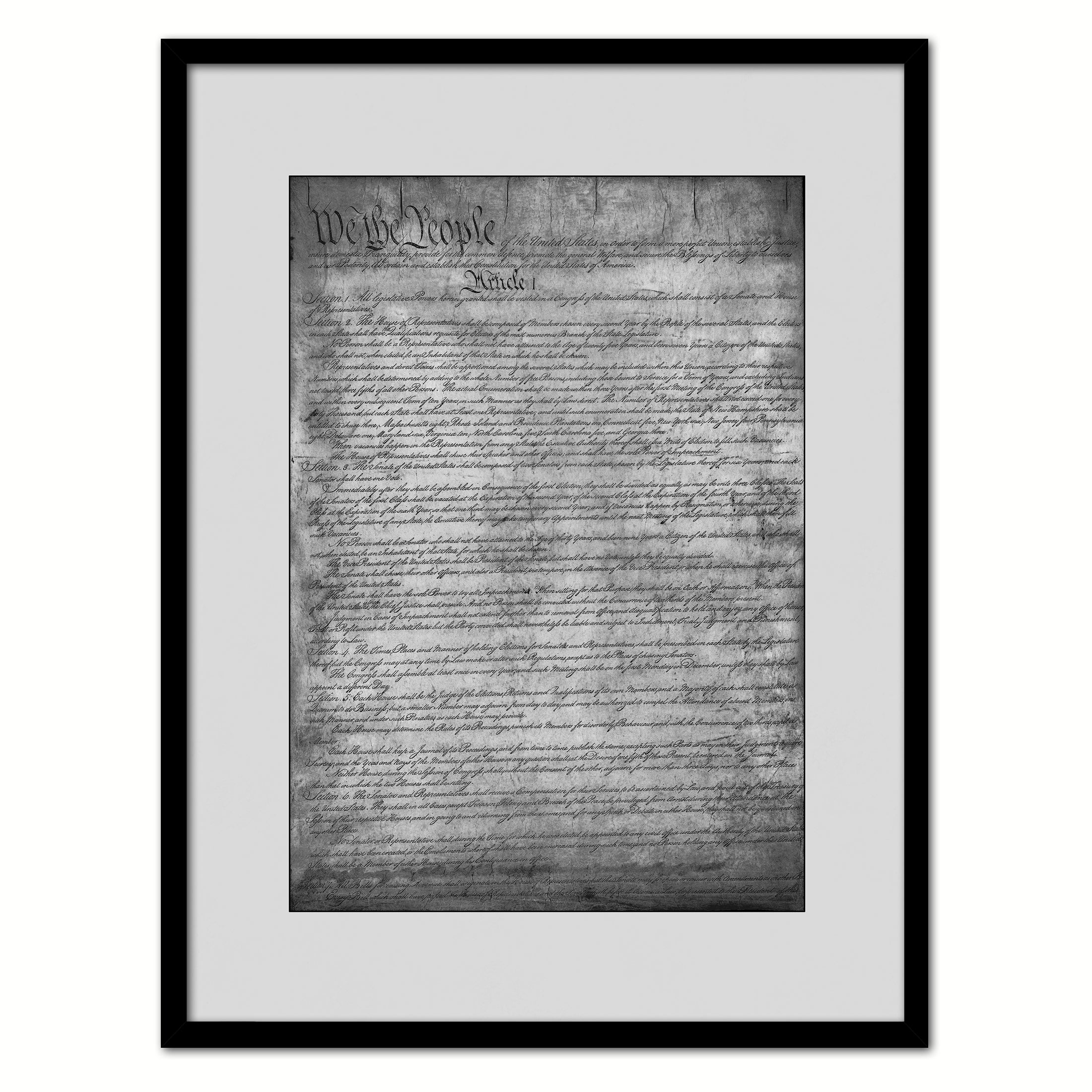 Constitution We The People Canvas Print Home Decor Wall Art, Black Framed