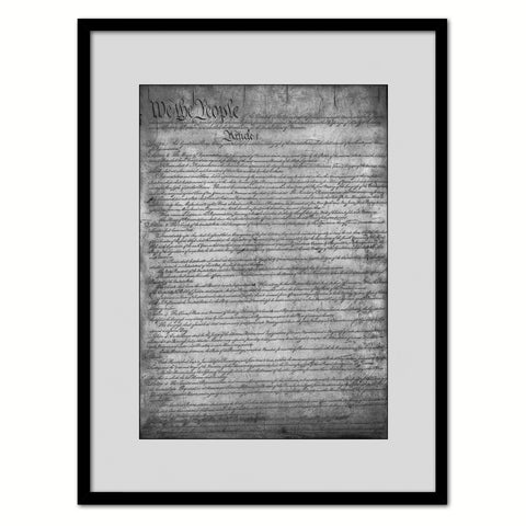 Constitution We The People Canvas Print Home Decor Wall Art, Sepia, Brown Framed