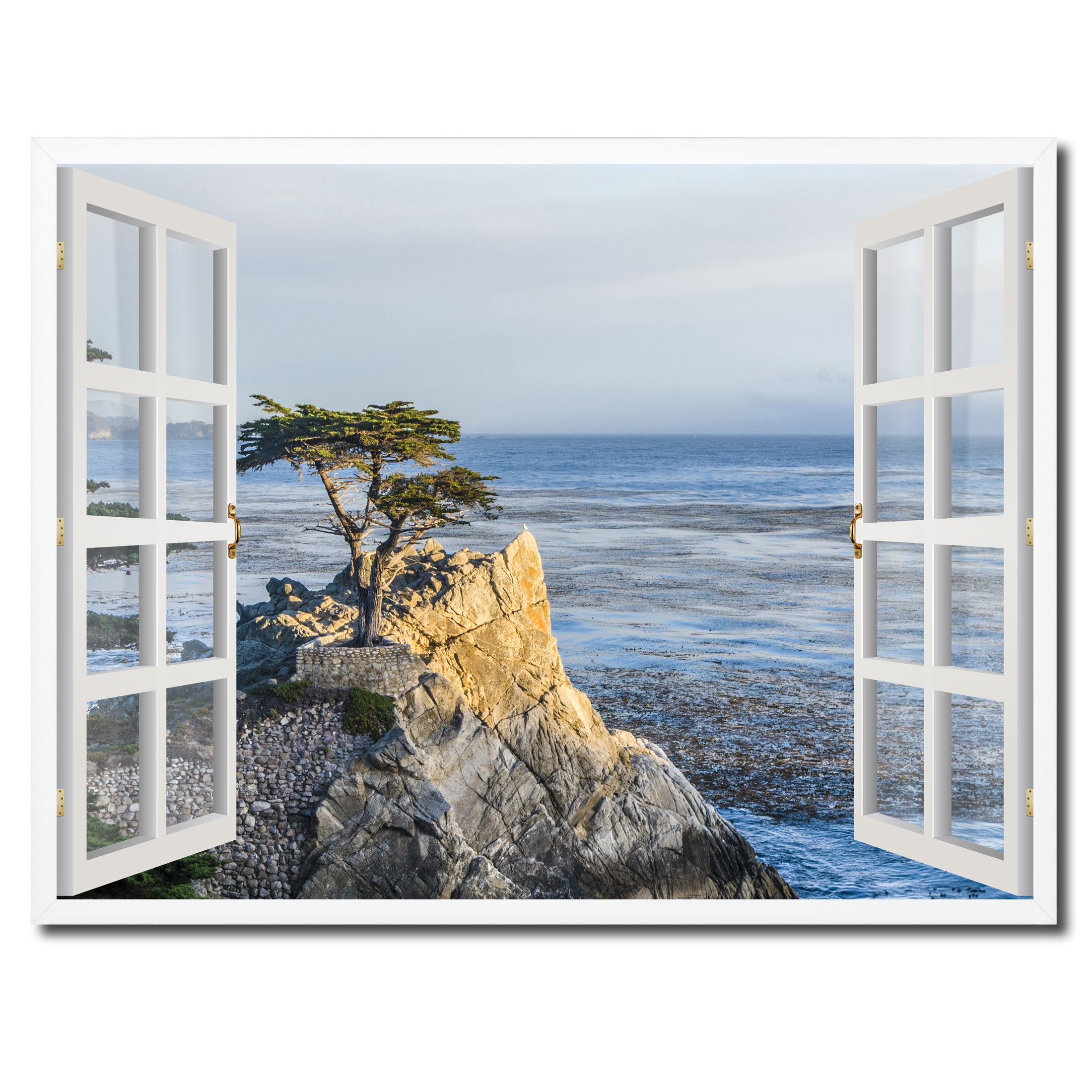 Monterey Beach View Picture French Window Framed Canvas Print Home Decor Wall Art Collection  sc 1 st  SpotColorArt & Monterey Beach View Picture Window Wall Art Home Decor Gift Ideas ...