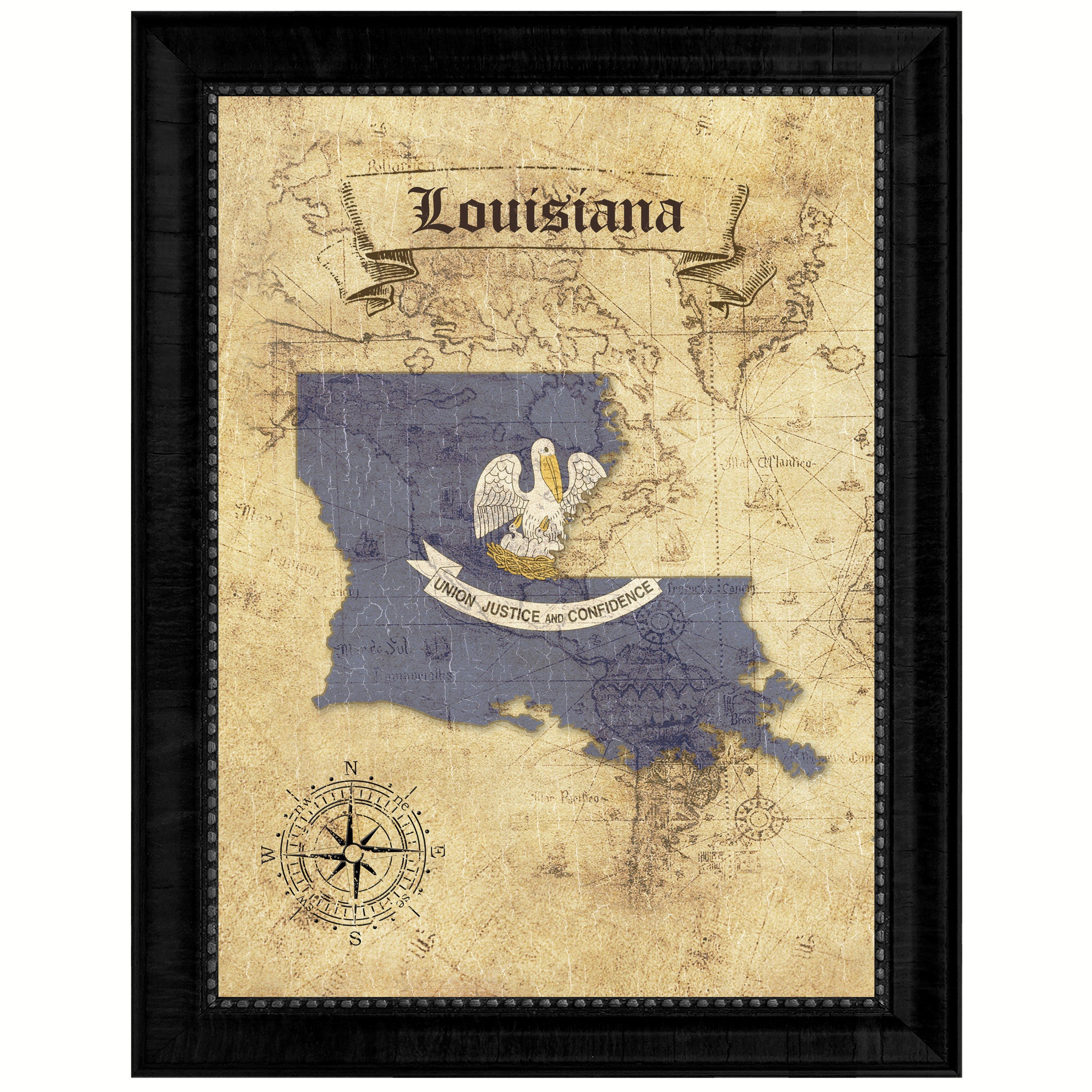 Louisiana State Vintage Map Art Office Wall Home Decor Rustic Gift ...