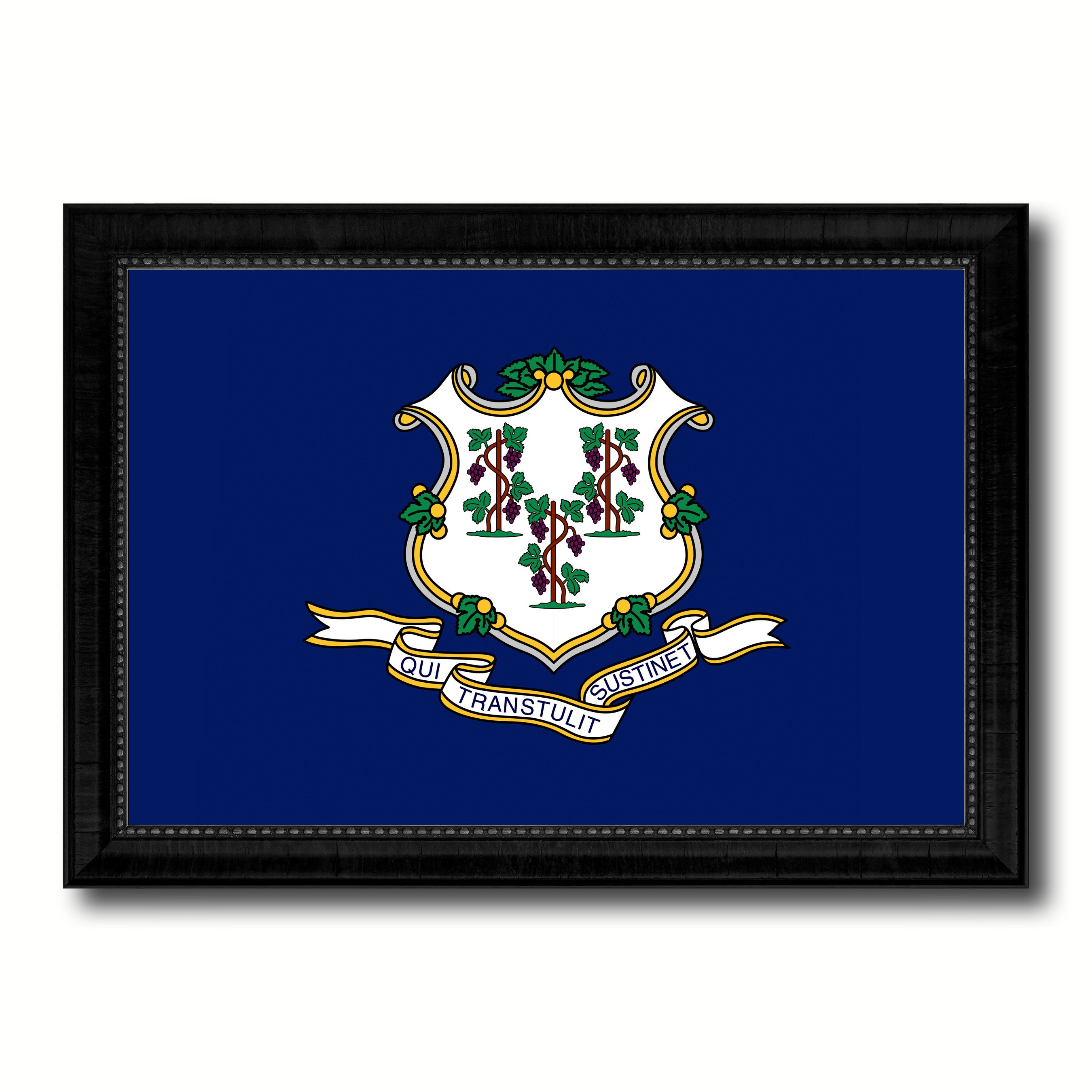 Connecticut State Flag Canvas Print with Custom Black Picture Frame Home Decor Wall Art Decoration Gifts