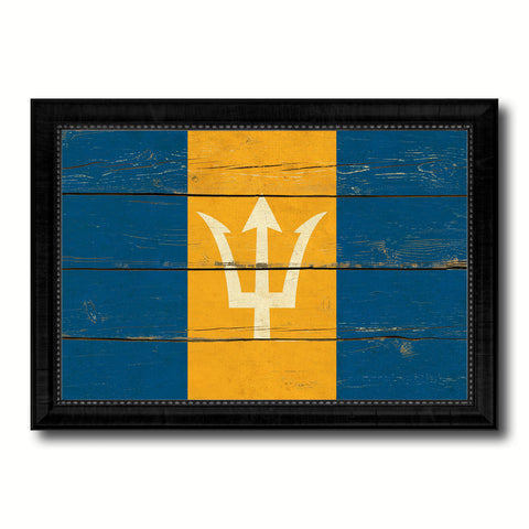 Barbados Country Flag Vintage Canvas Print with Black Picture Frame Home Decor Gifts Wall Art Decoration Artwork