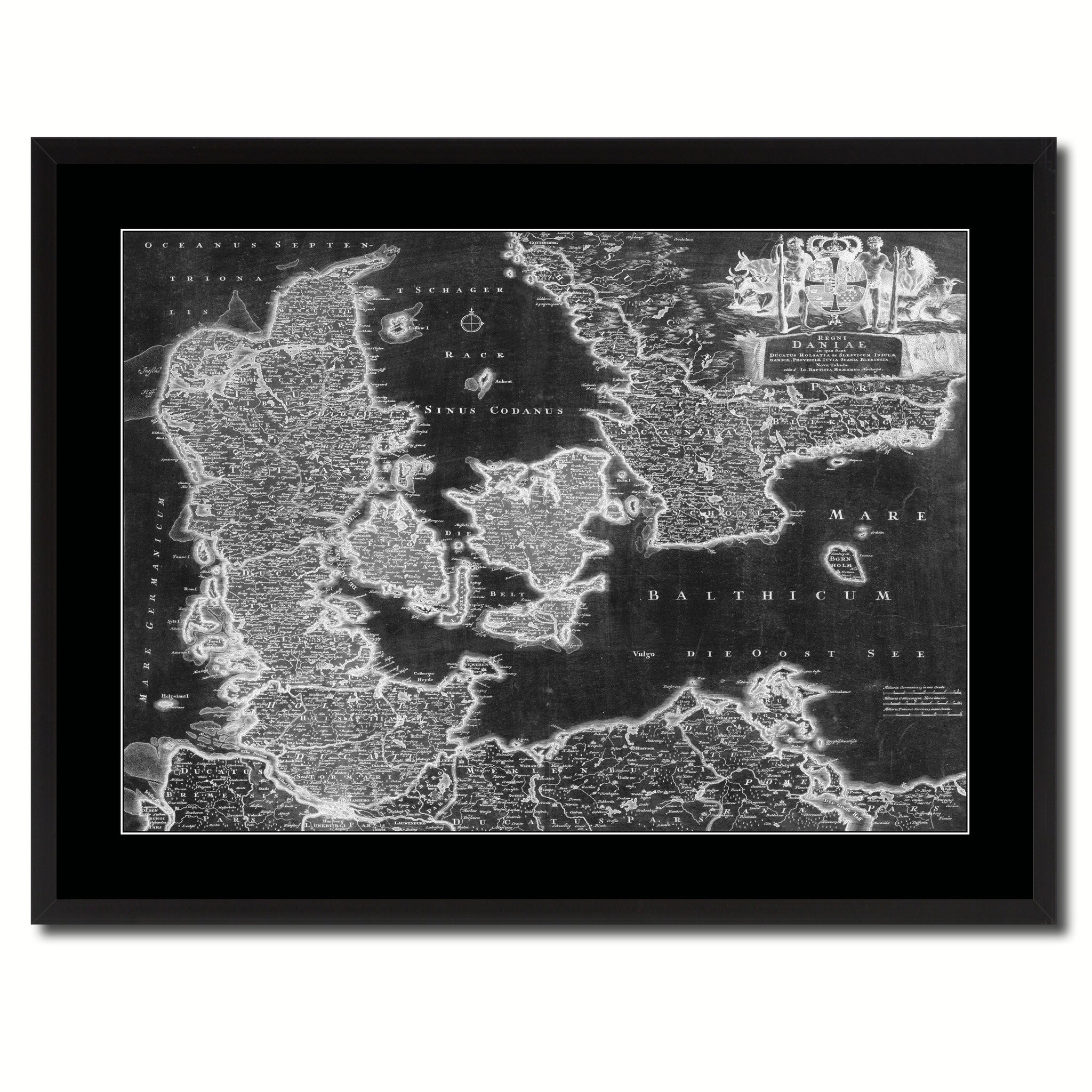 Denmark Centuries Vintage Monochrome Map Canvas Print, Gifts Picture Frames Home Decor Wall Art