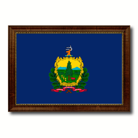 Vermont State Flag Canvas Print with Custom Brown Picture Frame Home Decor Wall Art Decoration Gifts