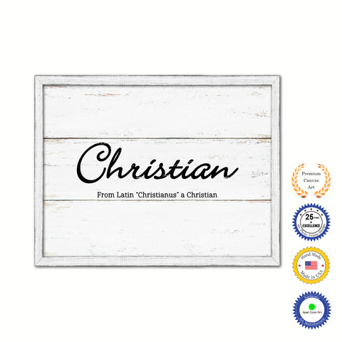 Christian Name Plate White Wash Wood Frame Canvas Print Boutique Cottage Decor Shabby Chic