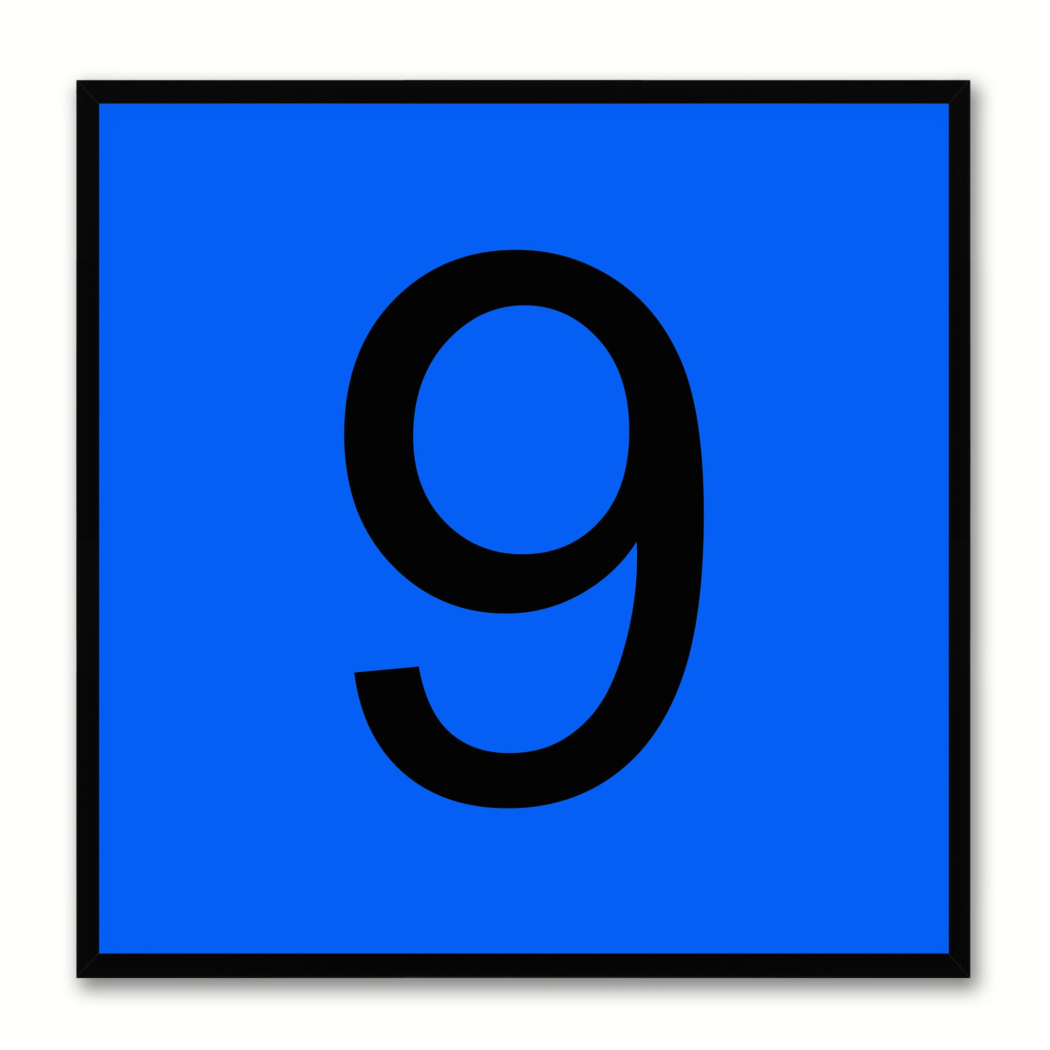 Number 9 Blue Canvas Print Black Frame Kids Bedroom Wall Décor Home Art