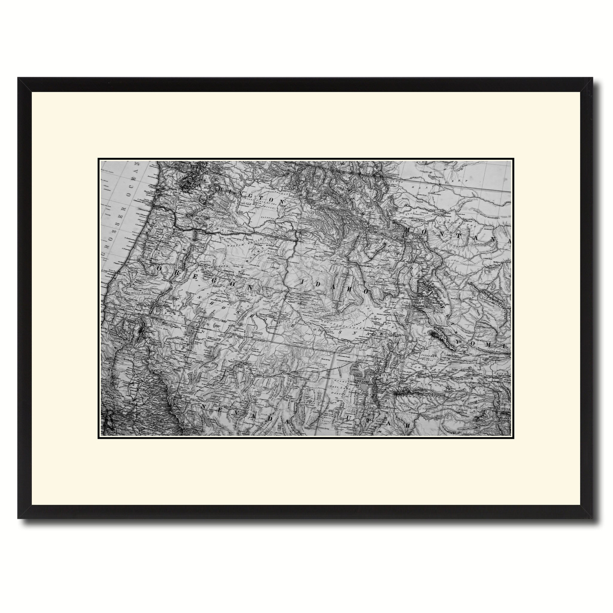 Us Pacific Northwest Vintage BW Map Home Decor Wall Art Bedroom