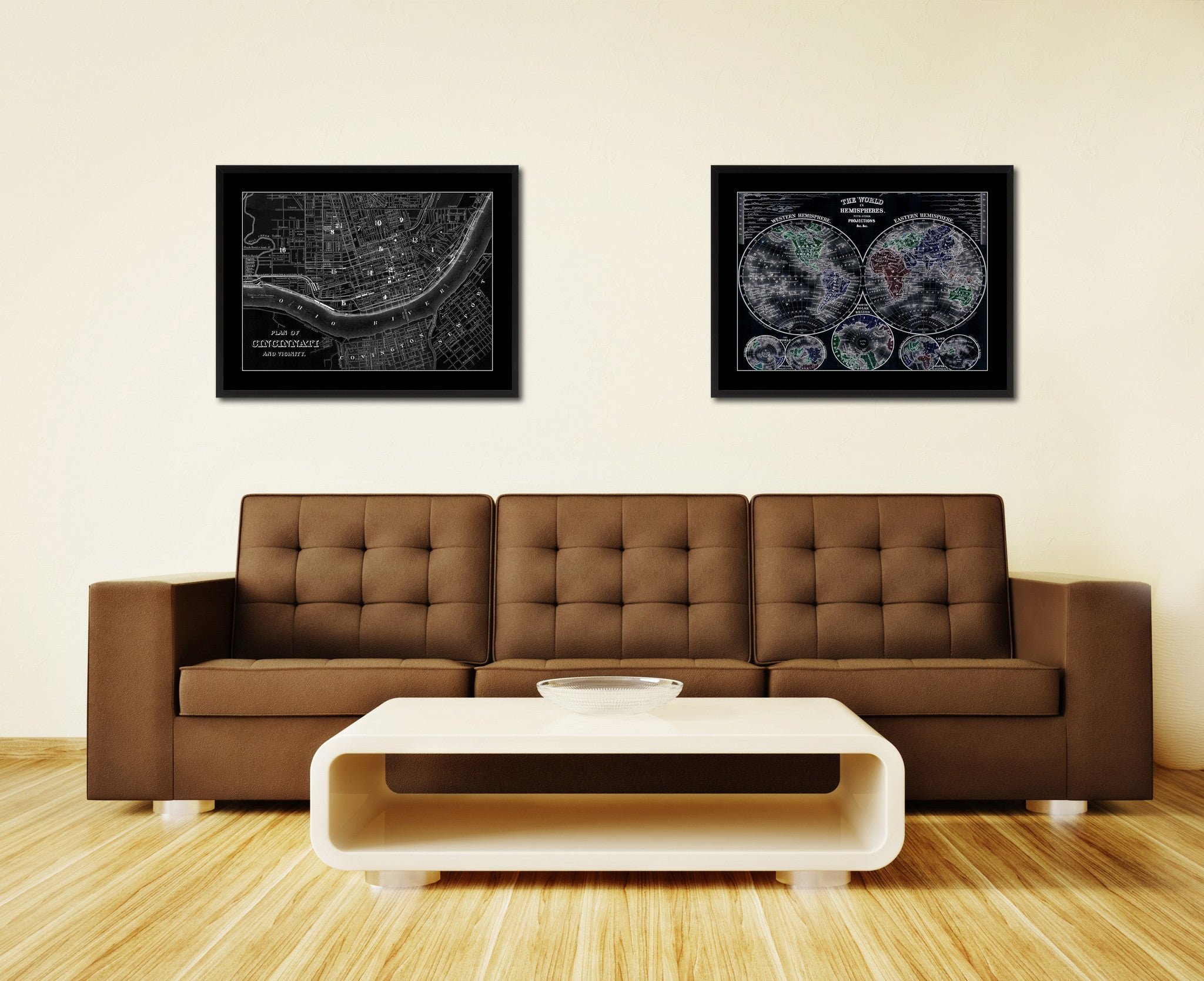 Cincinnati Vintage Monochrome Map Canvas Print, Gifts Picture Frames Home Decor Wall Art