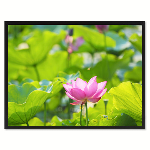 Pink Lotus Flower Framed Canvas Print Home Décor Wall Art