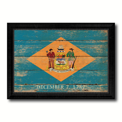 Delaware State Vintage Flag Canvas Print with Black Picture Frame Home Decor Man Cave Wall Art Collectible Decoration Artwork Gifts