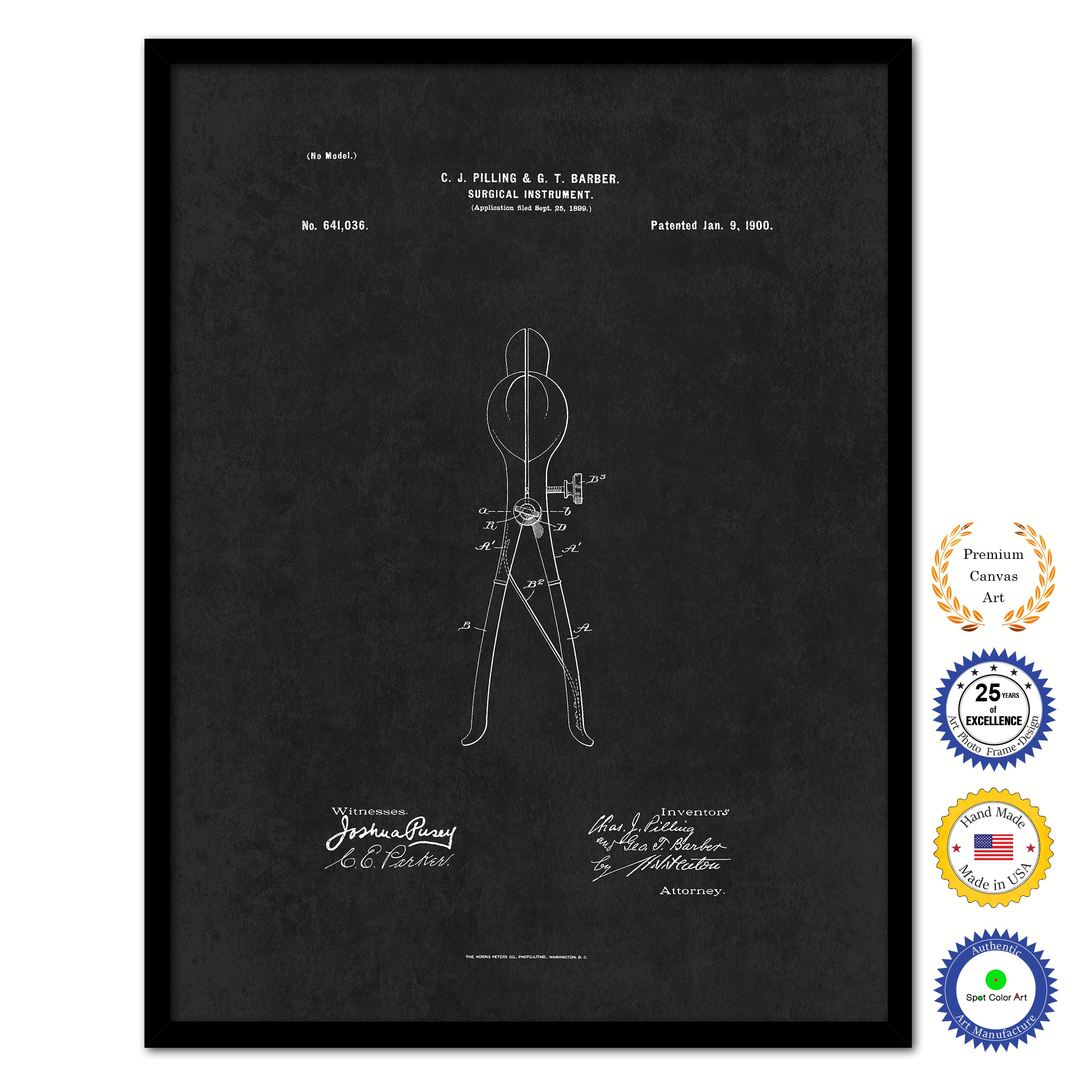 1900 Doctor Surgical Instrument Vintage Patent Artwork Black Framed Canvas Home Office Decor Great for Doctor Paramedic Surgeon Hospital Medical Student
