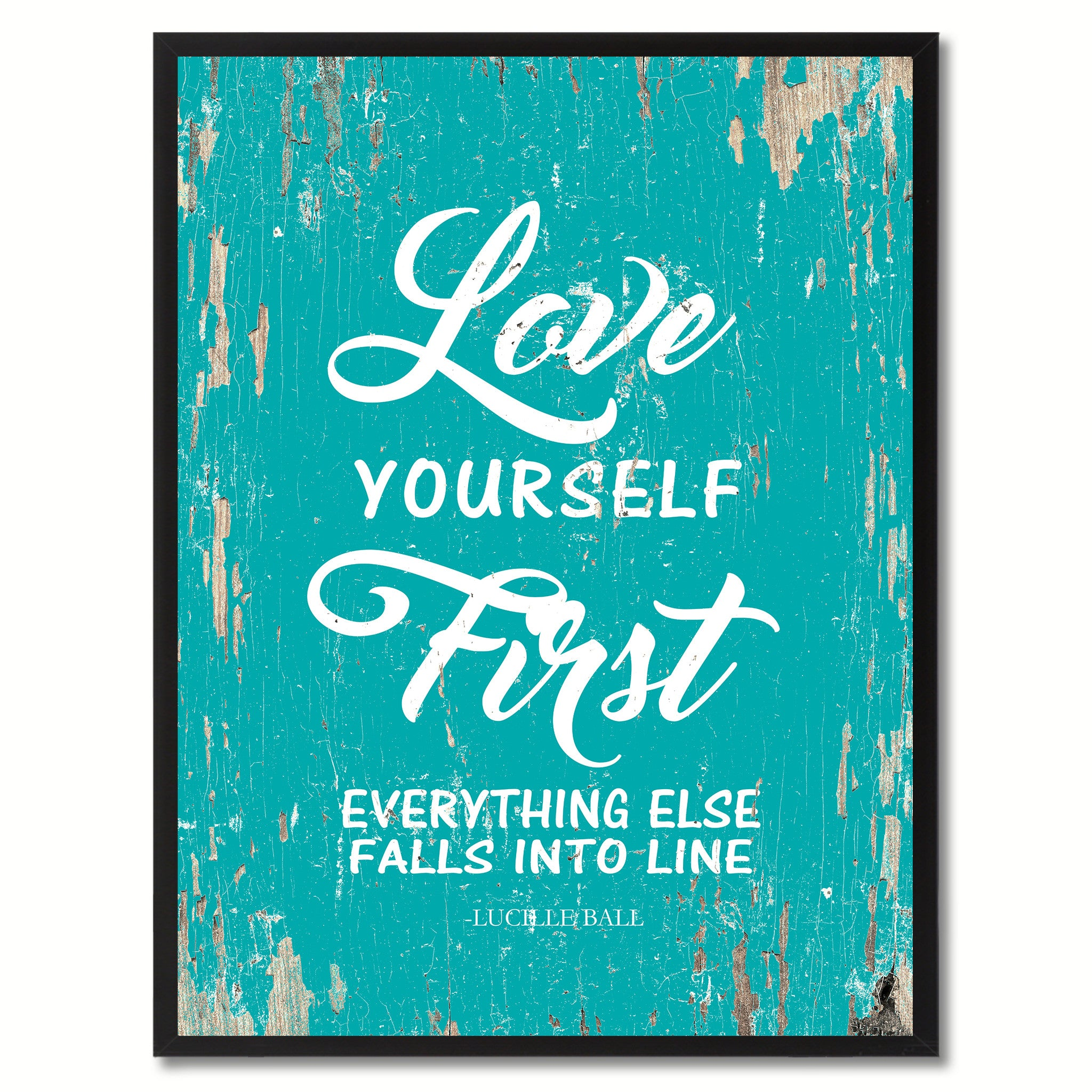 dd6aa938e0011 Love yourself first everything else falls into line - Lucille Ball  Inspirational Motivation Saying Quote Canvas Print Picture Frame Gift Home  Decor Wall Art ...