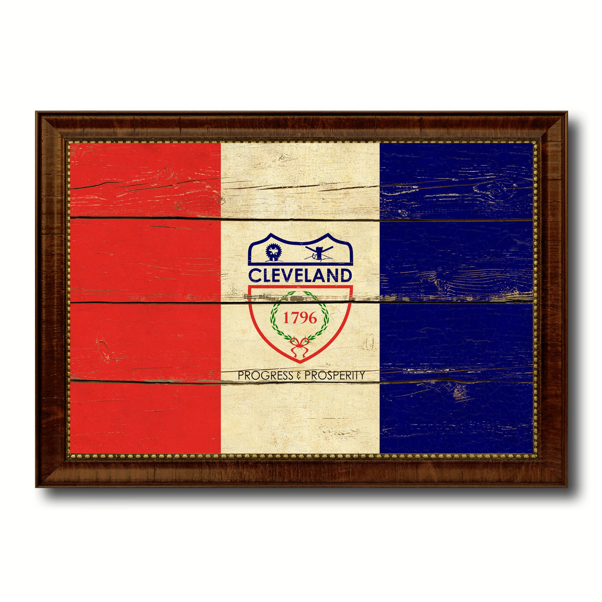 Cleveland City Ohio State Vintage Flag Canvas Print Brown Picture Frame