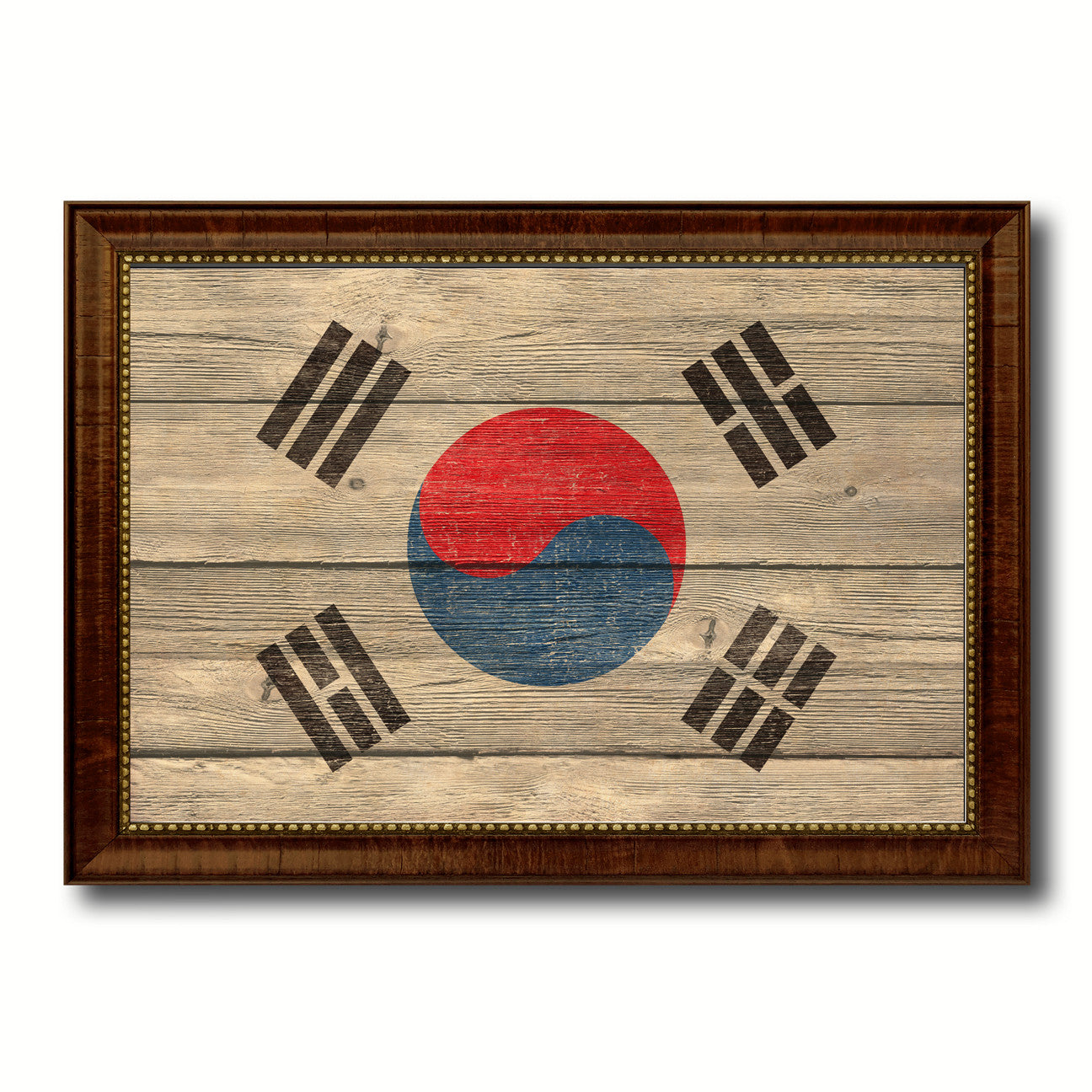 Korea Country Flag Texture Canvas Print with Brown Custom Picture Frame Home Decor Gift Ideas Wall Art Decoration