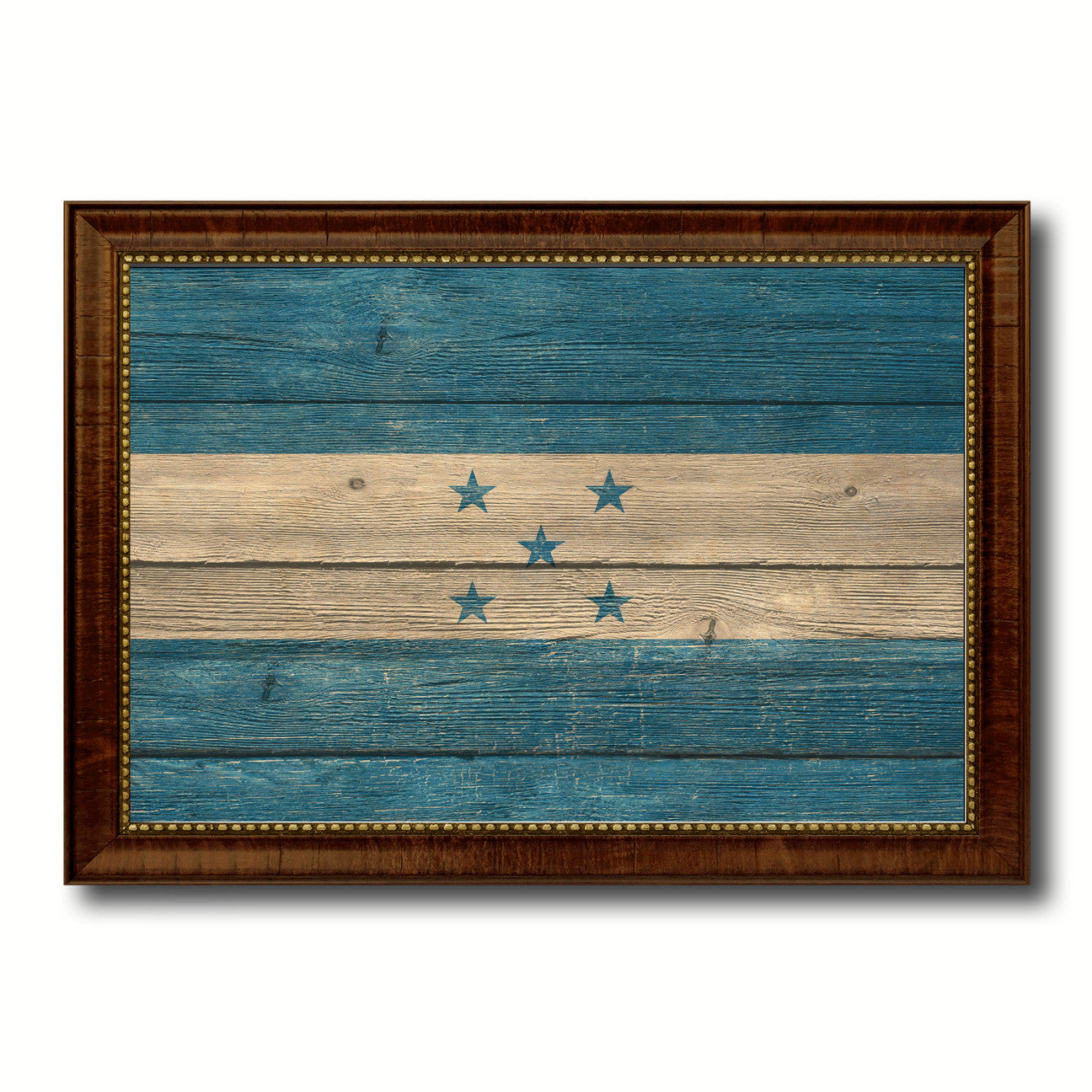Honduras Country Flag Texture Canvas Print with Brown Custom Picture Frame Home Decor Gift Ideas Wall Art Decoration