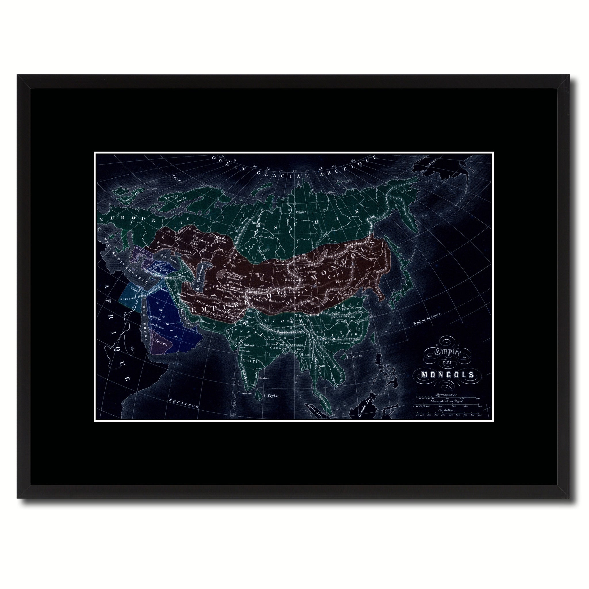 Mongolian Empire Asia Vintage Vivid Color Map Canvas Print, Picture Frame Home Decor Wall Art Office Decoration Gift Ideas