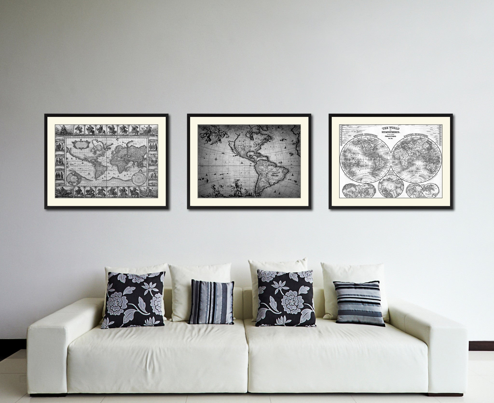 America Vintage B&W Map Canvas Print, Picture Frame Home Decor Wall Art Gift Ideas