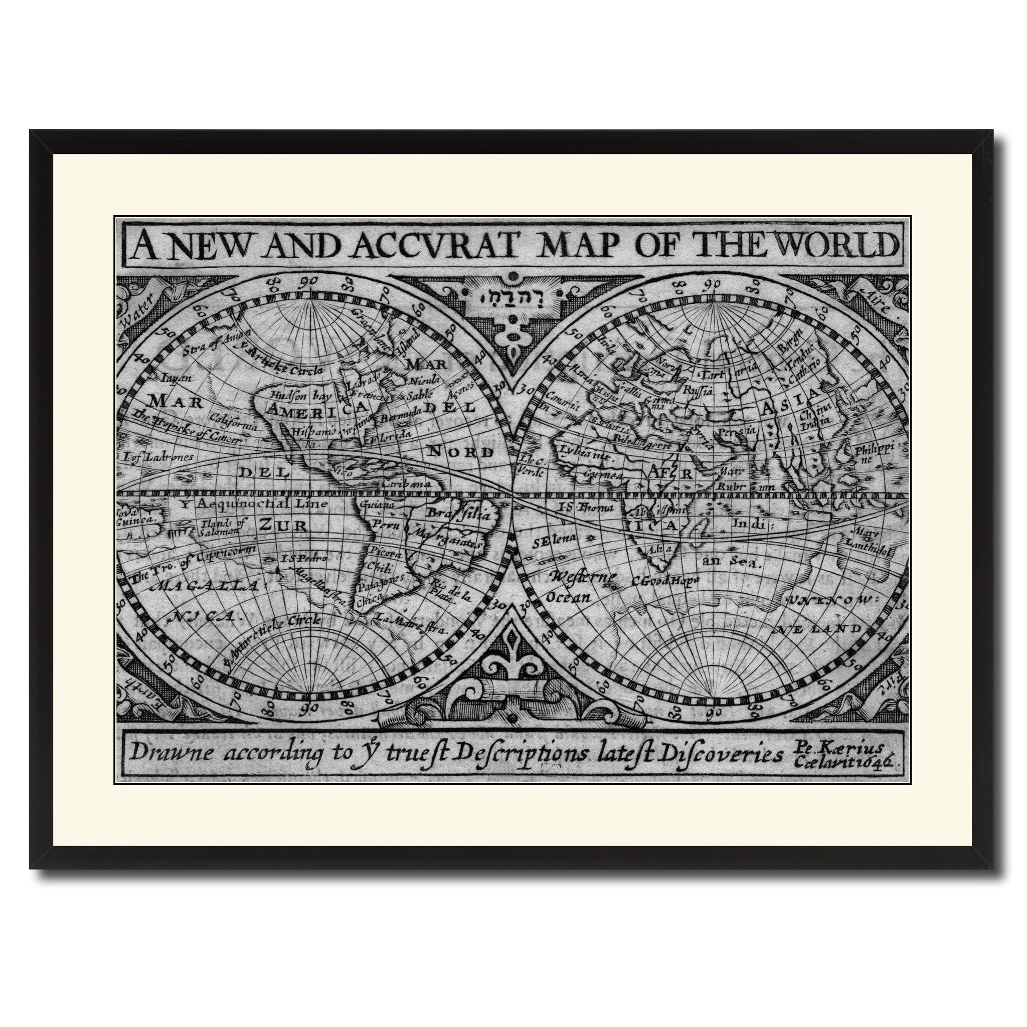 The World Vintage B W Map Canvas Print Picture Frame Home