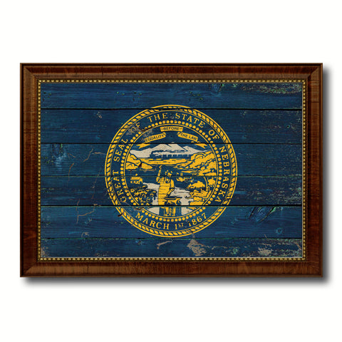 Nebraska State Vintage Flag Canvas Print with Brown Picture Frame Home Decor Man Cave Wall Art Collectible Decoration Artwork Gifts