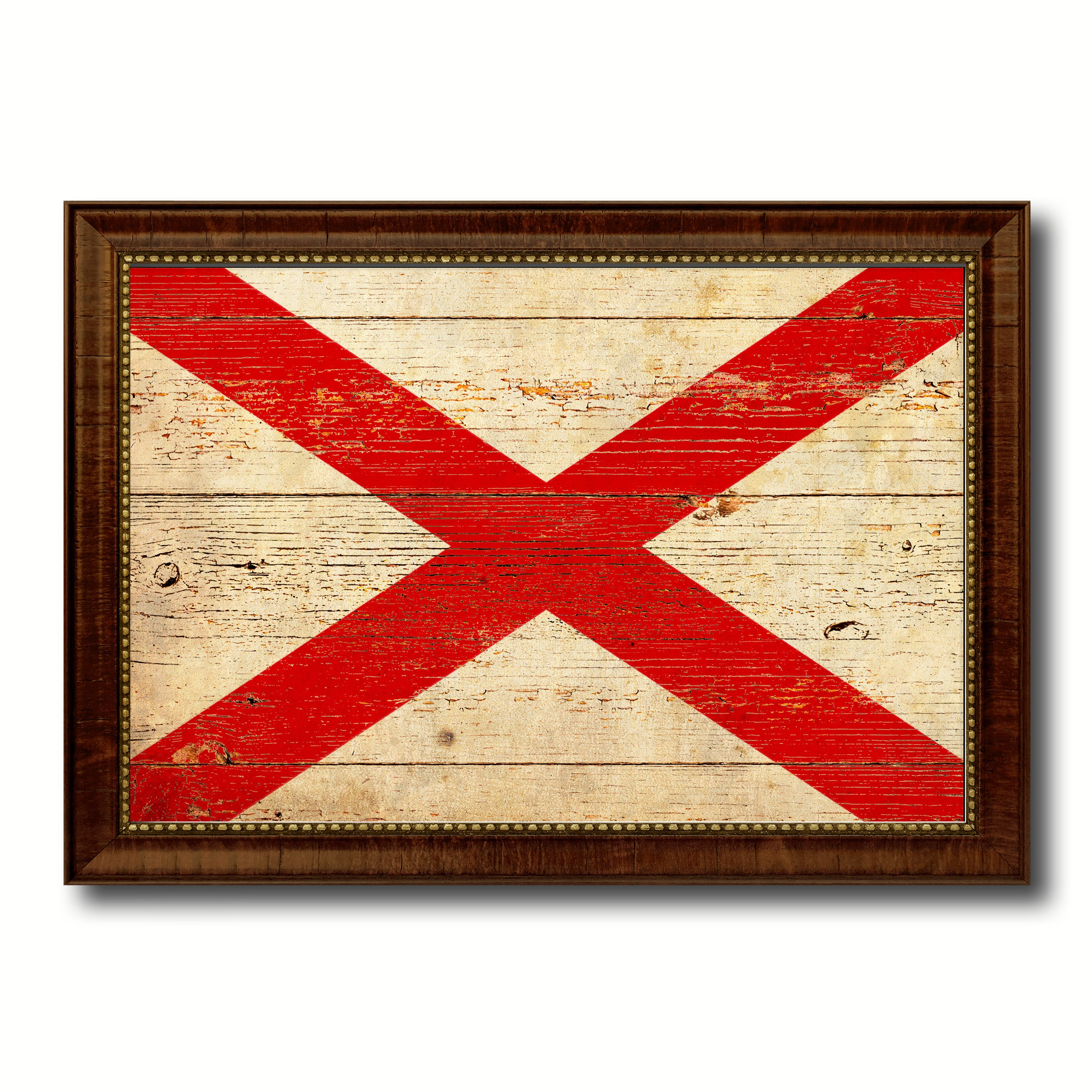 Alabama State Vintage Flag Canvas with Black Print Picture Frame ...