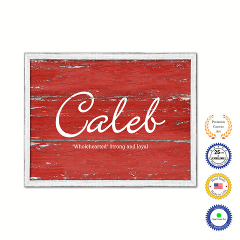 Caleb Name Plate White Wash Wood Frame Canvas Print Boutique Cottage Decor Shabby Chic