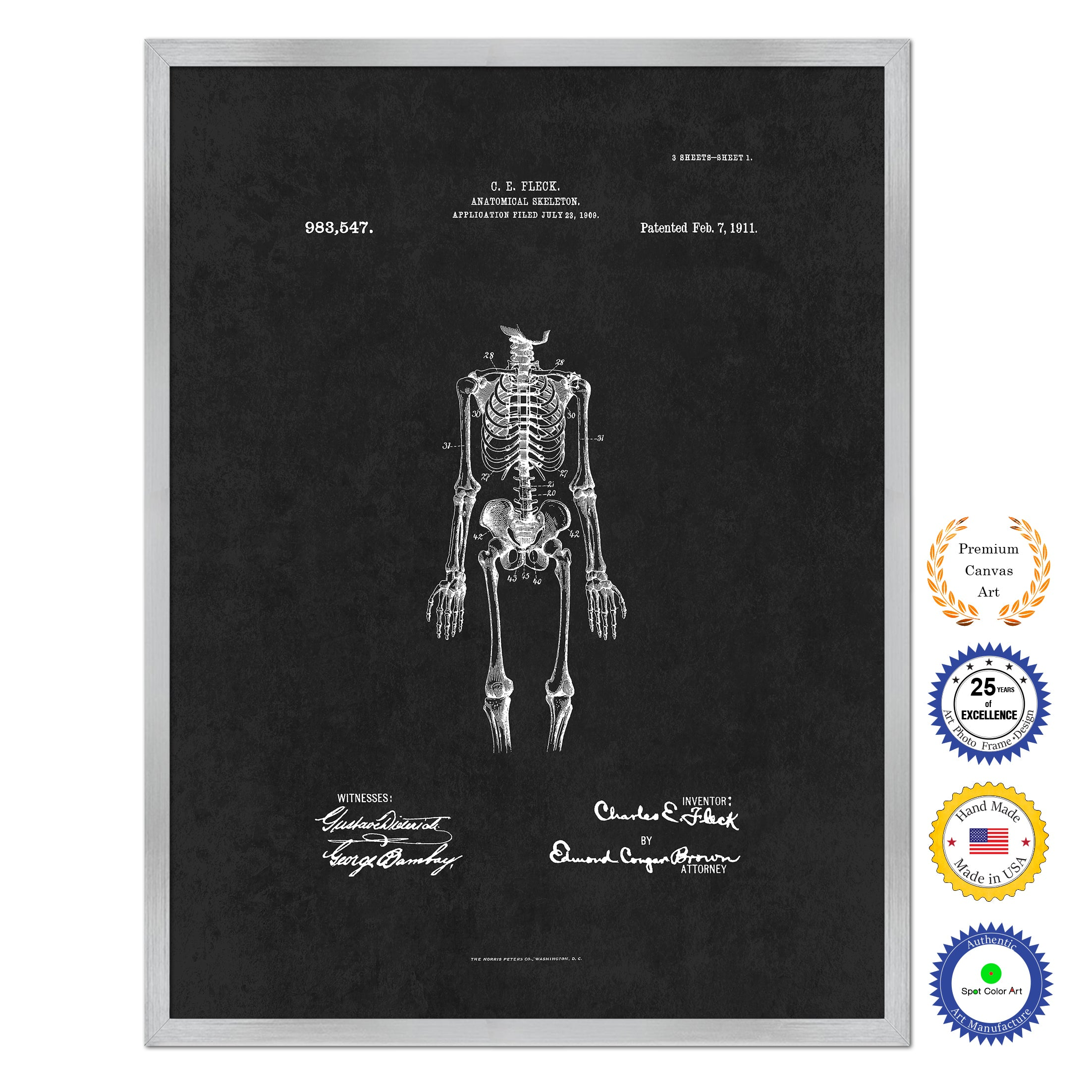 1911 Doctor Anatomical Skeleton Antique Patent Artwork Silver Framed Canvas Home Office Decor Great for Doctor Paramedic Surgeon Hospital Medical Student