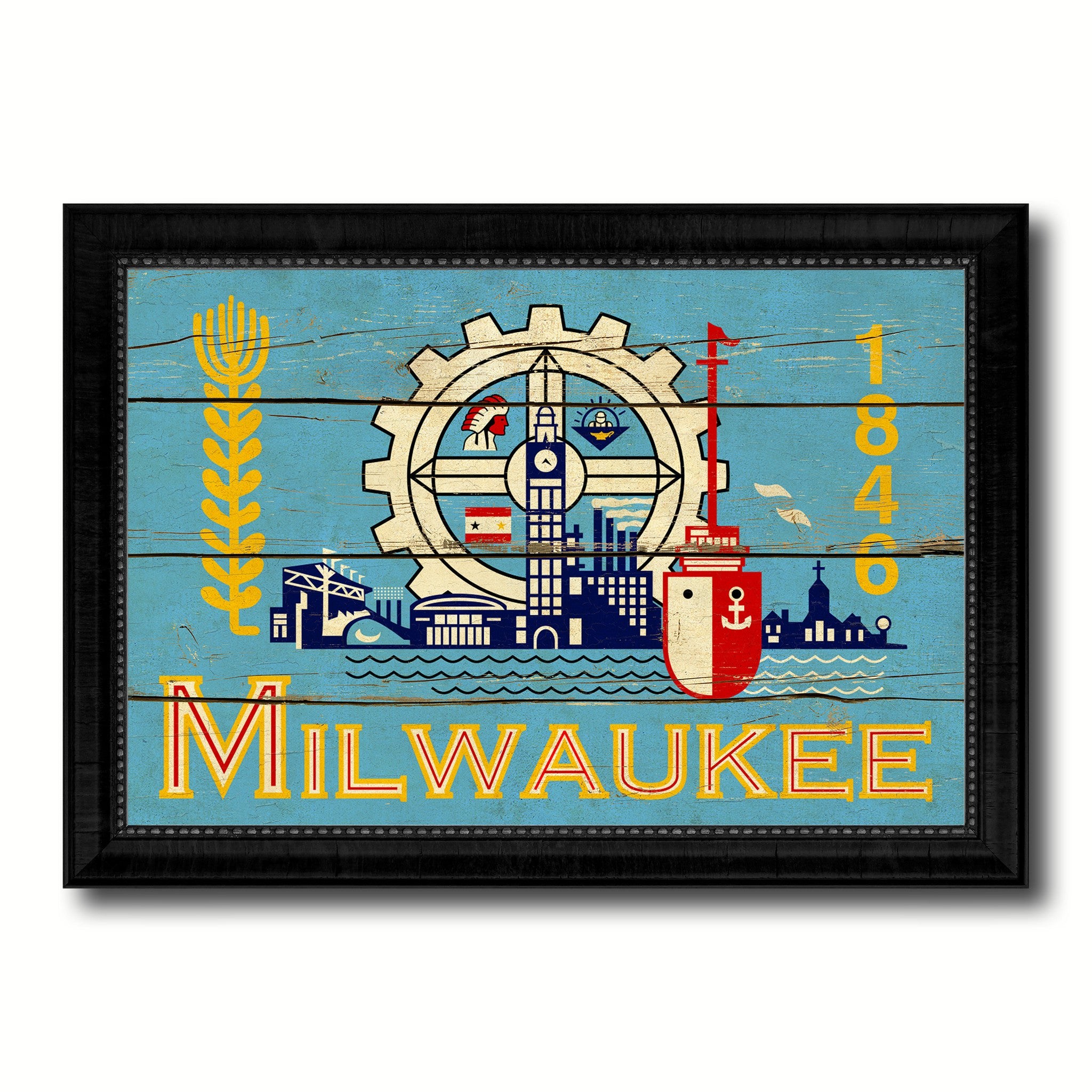 Milwaukee City Wisconsin State Vintage Flag Canvas Print Black Picture Frame