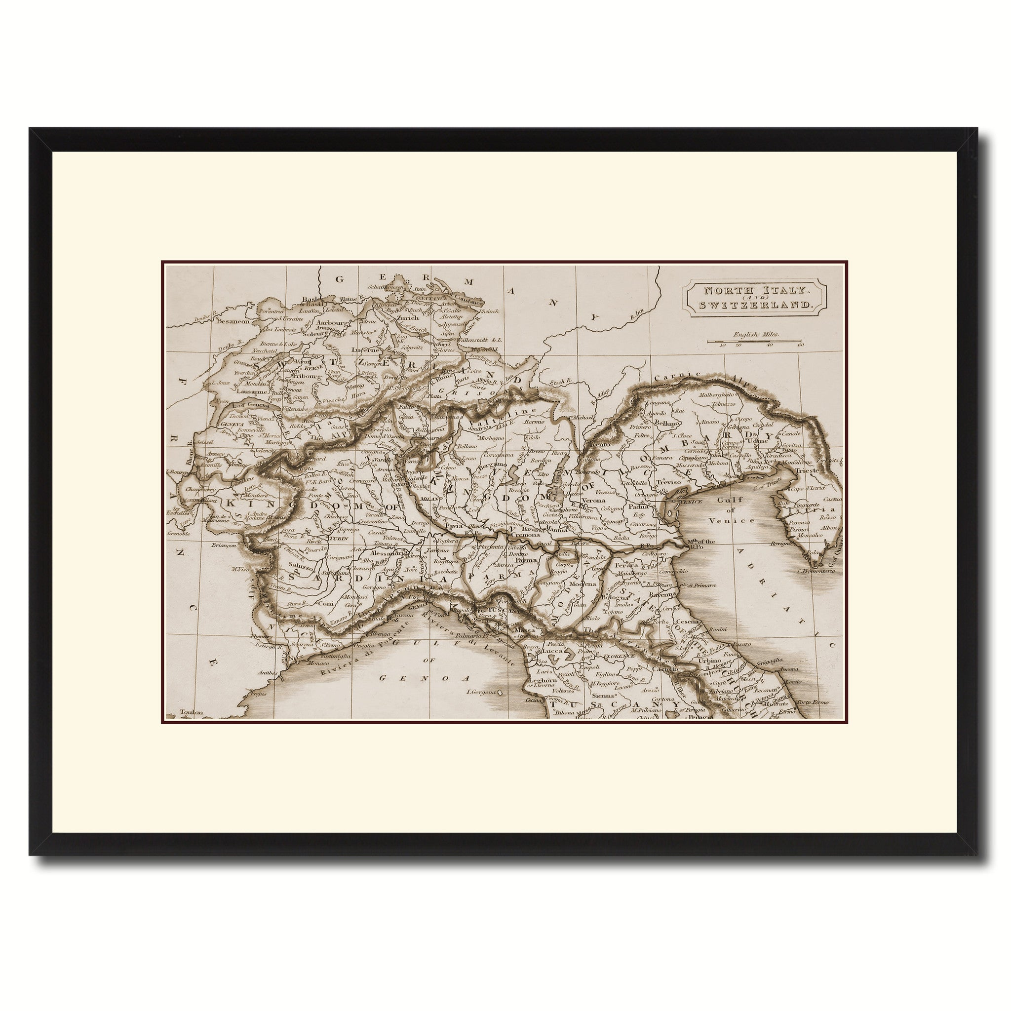 Italy Map Wall Art.Northern Italy Vintage Sepia Map Home Decor Wall Art Bedroom