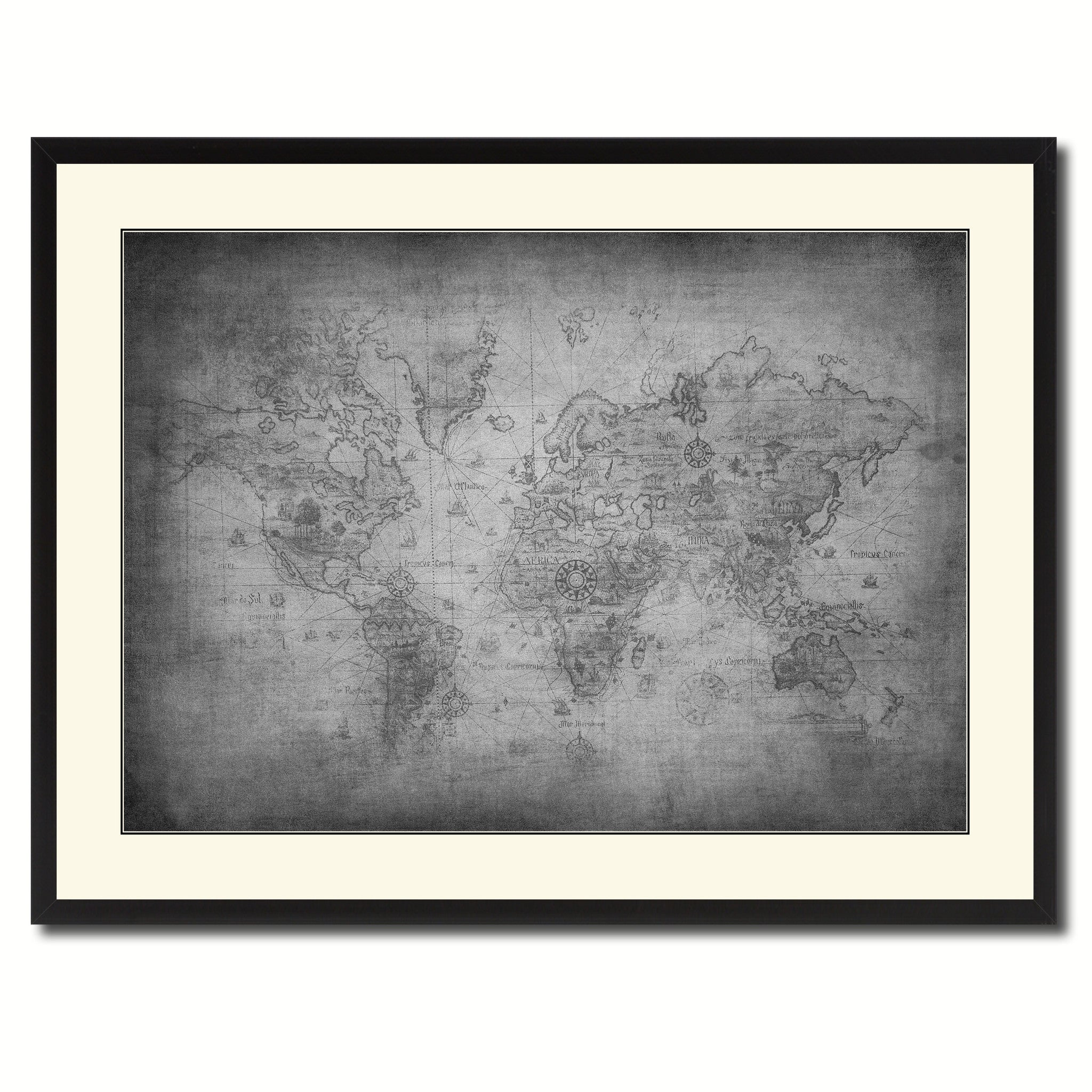 Ancient World Vintage B W Map Canvas Print Picture Frame