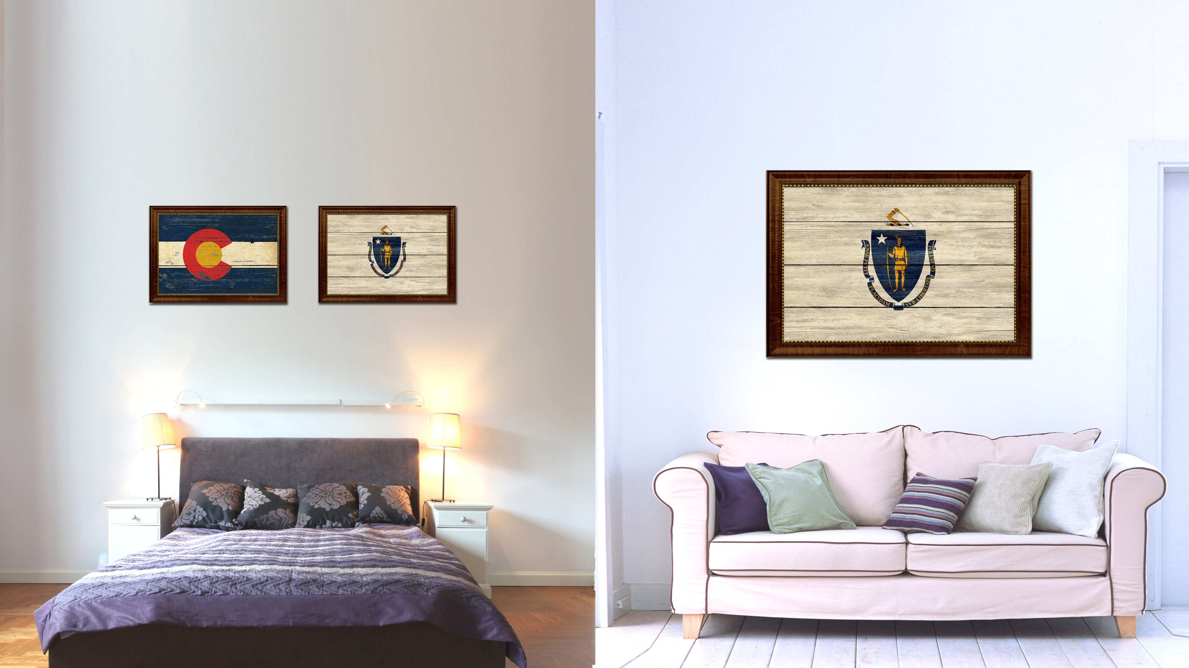 Massachusetts State Flag Texture Canvas Print with Brown Picture Frame Gifts Home Decor Wall Art Collectible Decoration