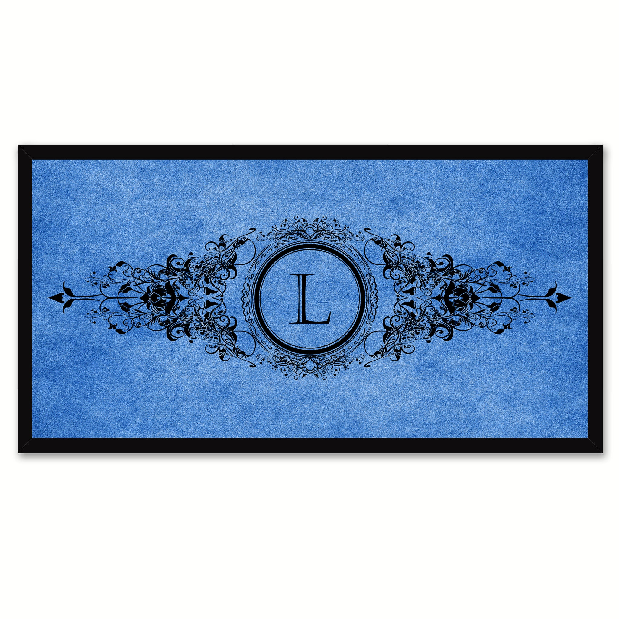 Alphabet Letter L Blue Canvas Print, Black Custom Frame