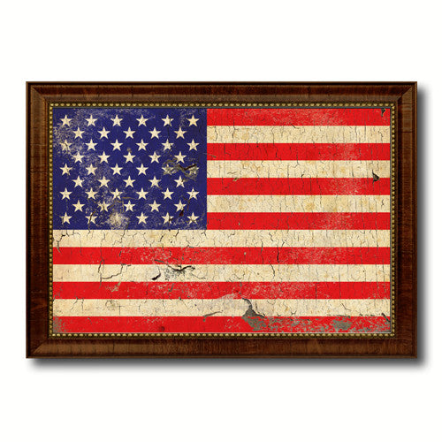 USA 50 Vintage American Flag Canvas Print with Black Picture Frame ...