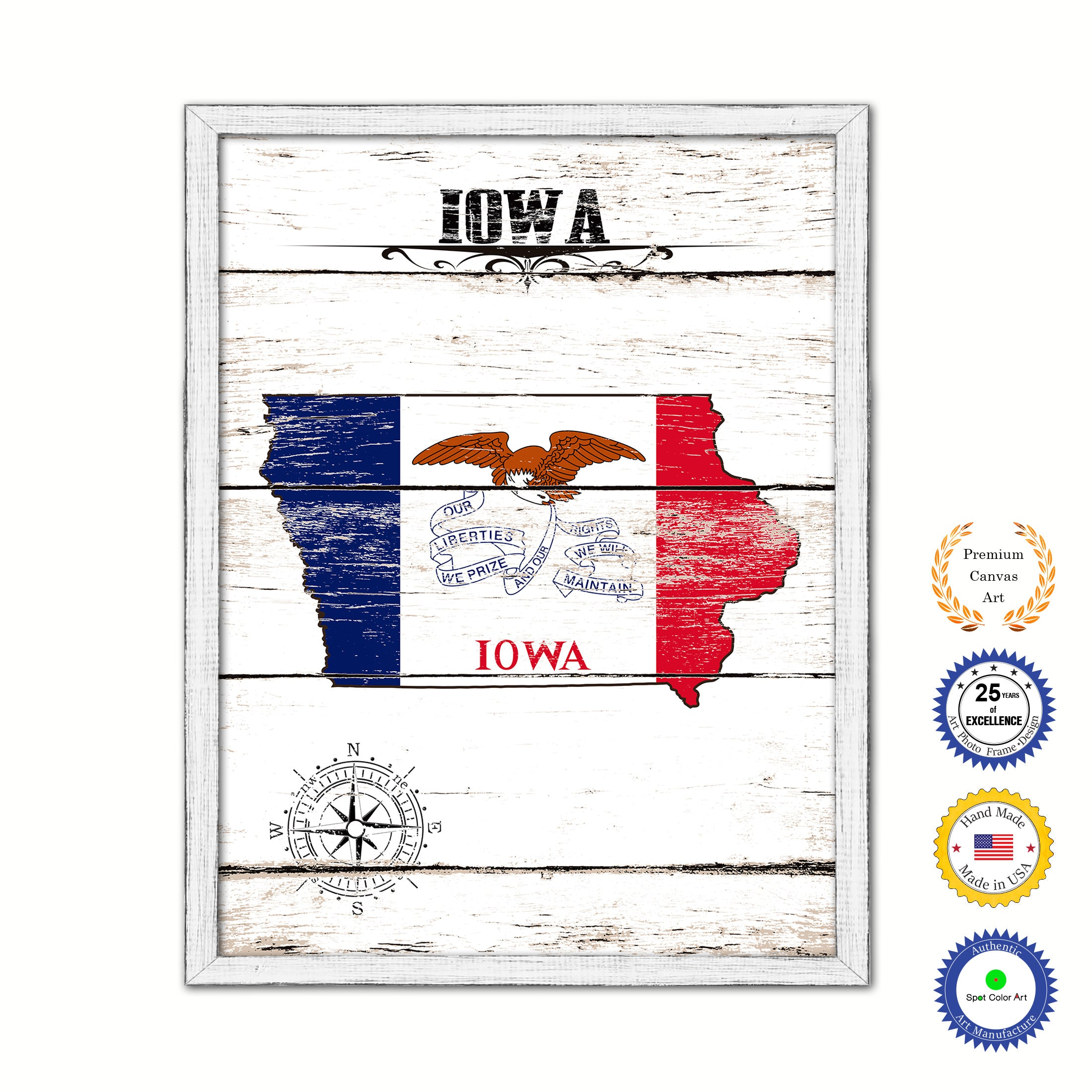 Iowa Flag Gifts Home Decor Wall Art Canvas Print with Custom Picture Frame