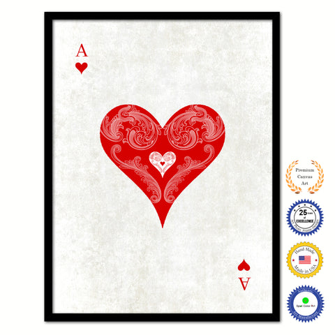 King Heart Poker Decks of Vintage Cards Print on Canvas Brown Custom Framed