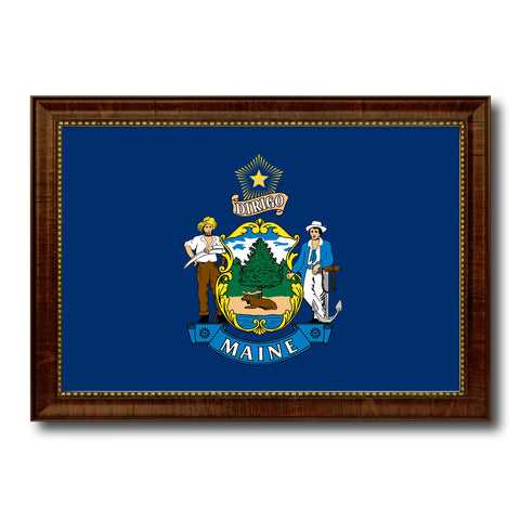 Maine State Flag Canvas Print with Custom Brown Picture Frame Home Decor Wall Art Decoration Gifts