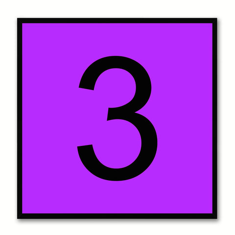 Number 3 Purple Canvas Print Black Frame Kids Bedroom Wall Décor Home Art