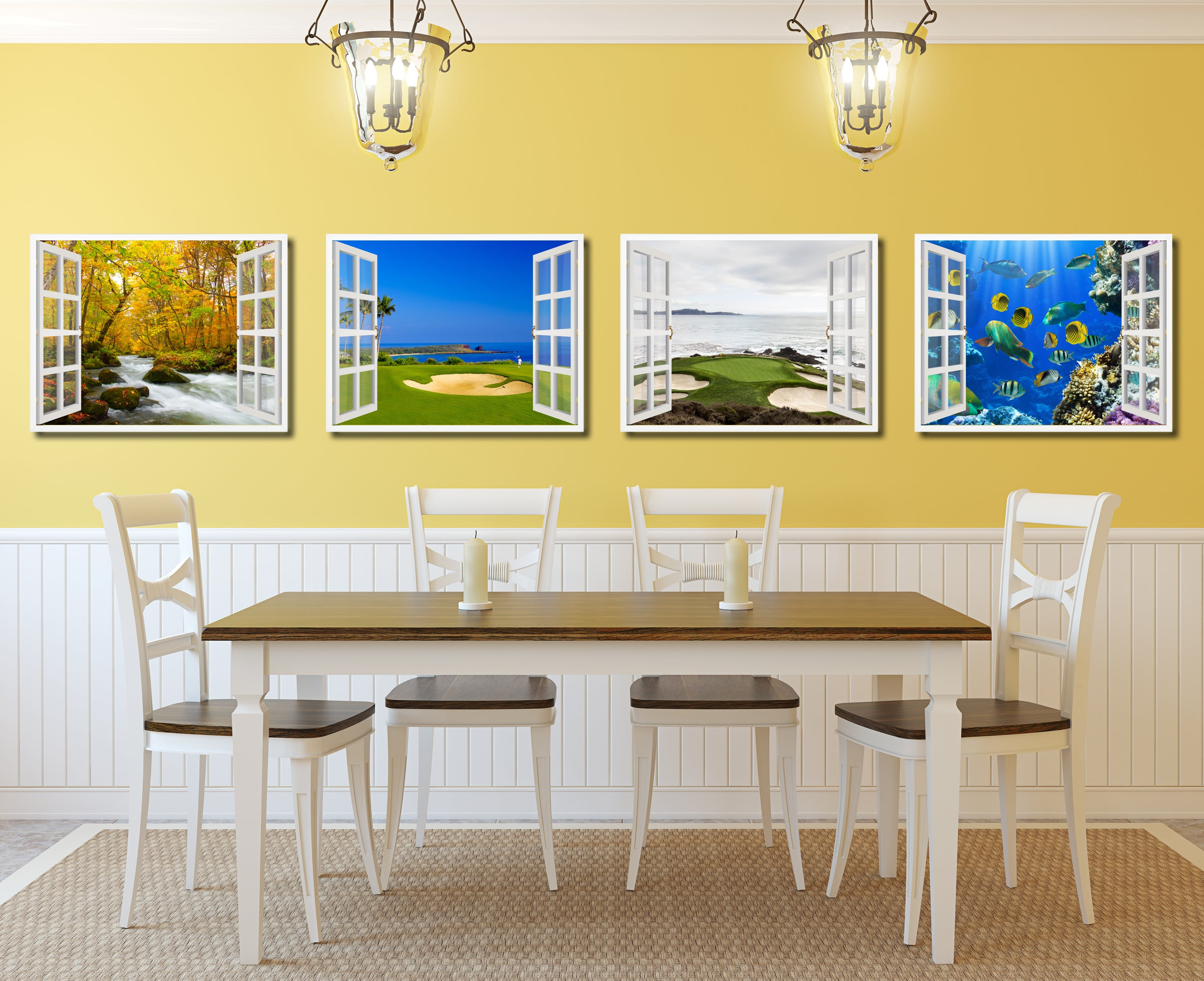 Coastal Golf Course Picture Window Wall Art Home Decor Gift Ideas ...
