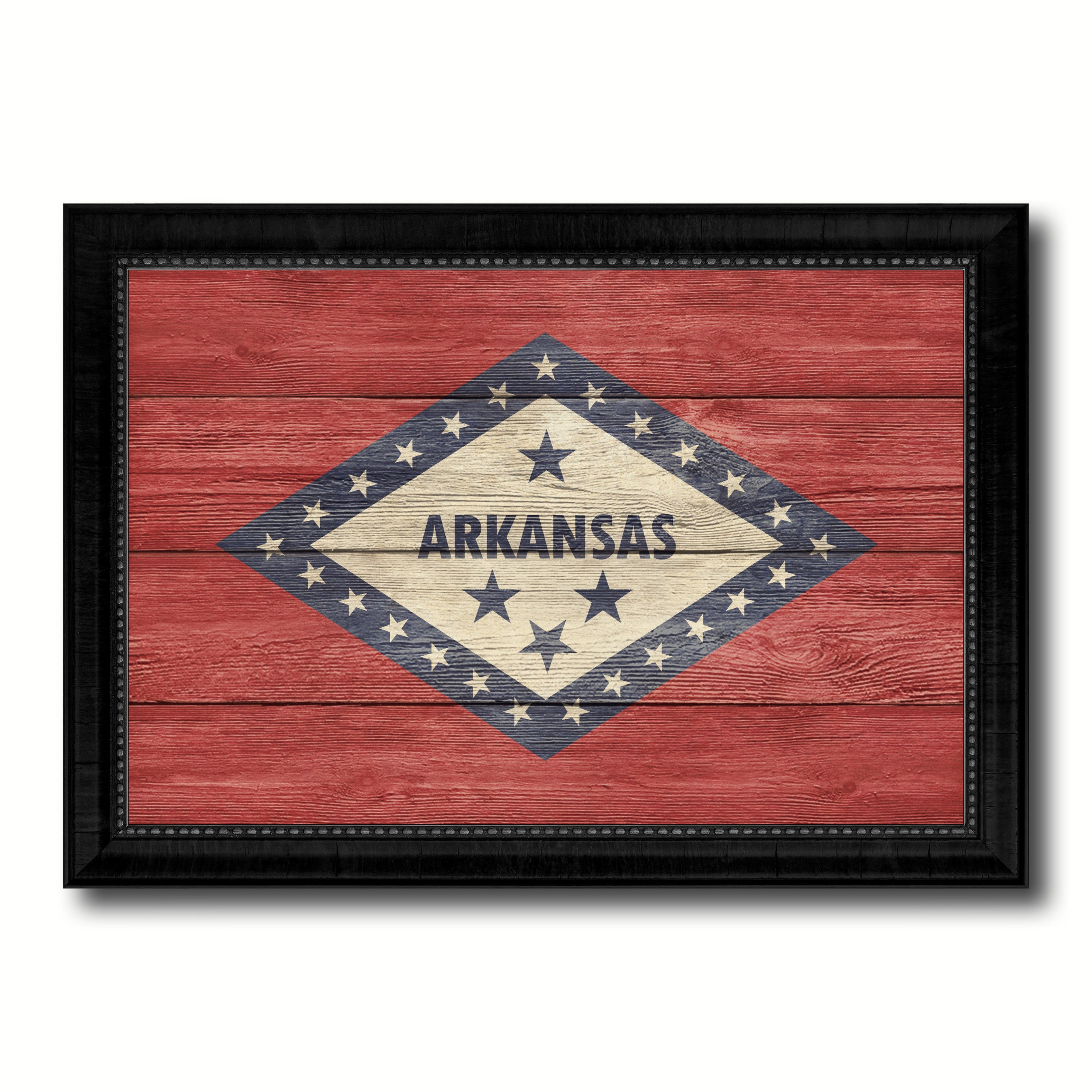 Arkansas State Flag Texture Canvas Print with Black Picture Frame Home Decor Man Cave Wall Art Collectible Decoration Artwork Gifts