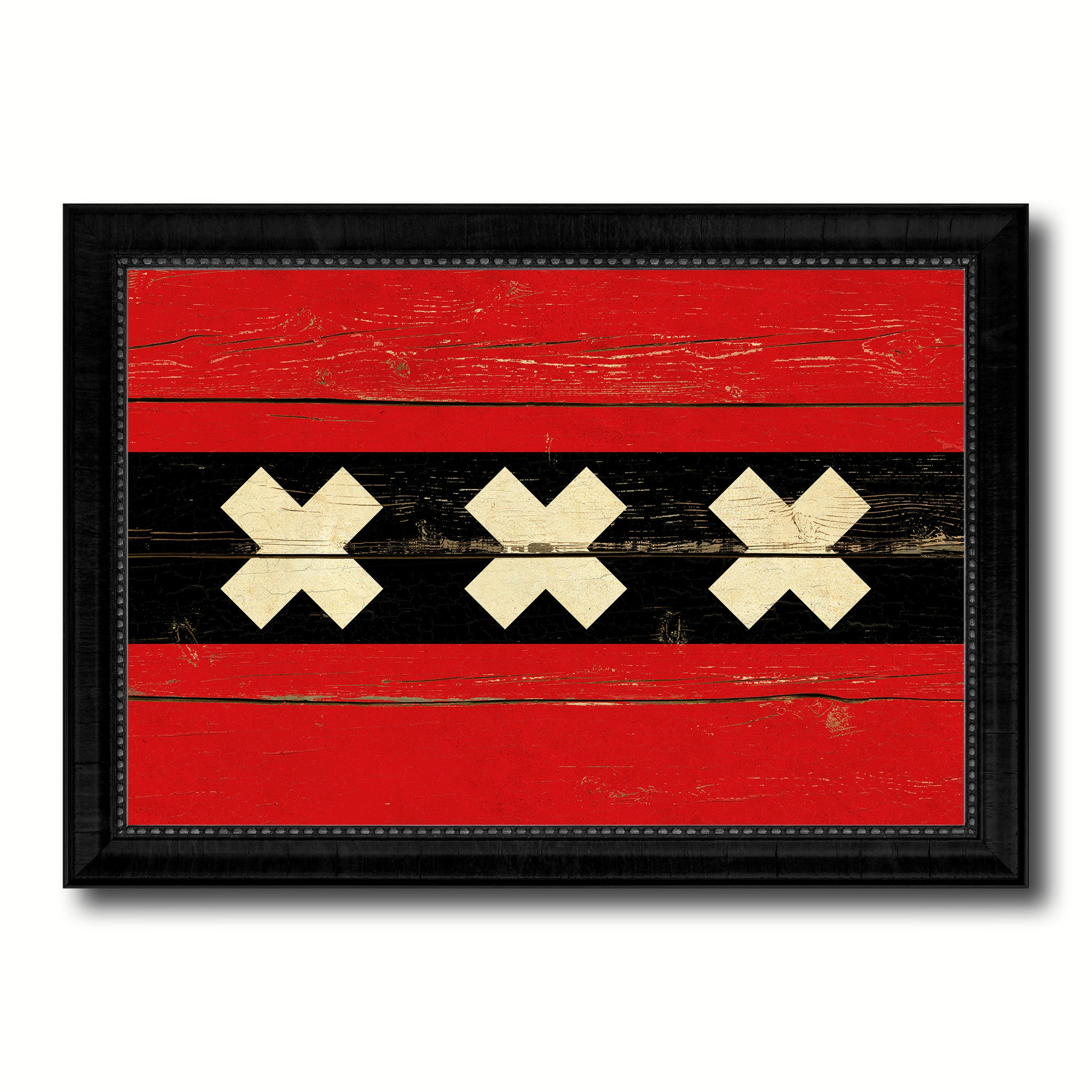 Amsterdam City Netherlands Country Vintage Flag Canvas Print Black Picture Frame