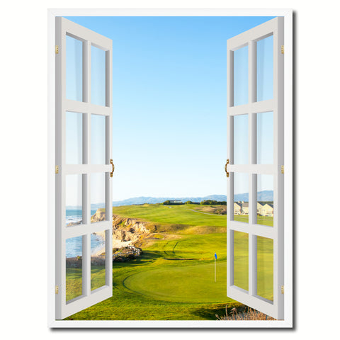 Halfmoon Bay California Golf Course Picture French Window Canvas Print with Frame Gifts Home Decor Wall Art Collection