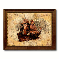 Boat Vintage Nautical Map Home Decor Wall Art Livingroom Decoration