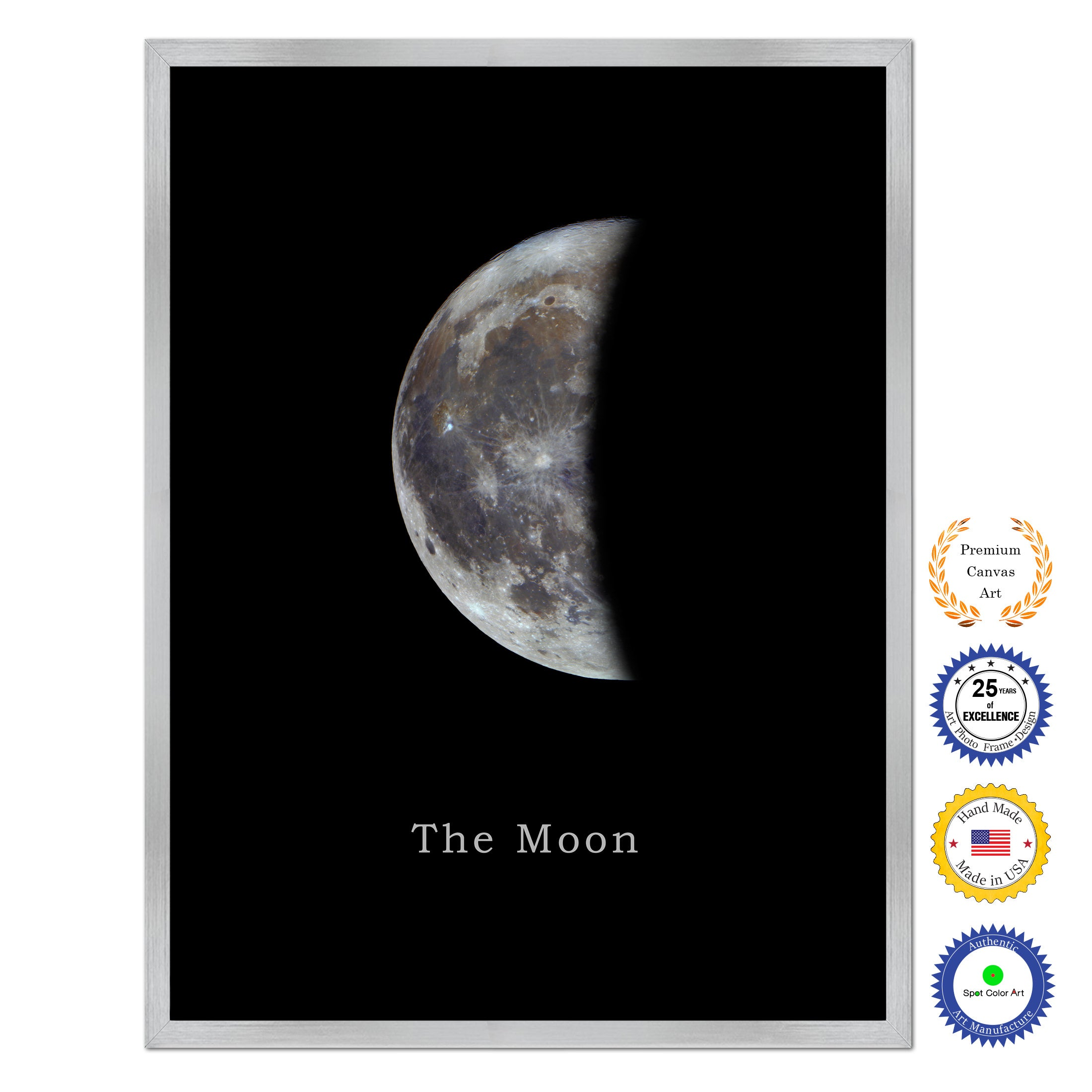 Quarter Moon Print on Canvas Planets of Solar System Silver Picture Framed Art Home Decor Wall Office Decoration