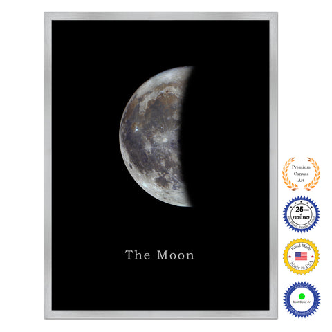 Moon Print on Canvas Planets of Solar System Silver Picture Framed Art Home Decor Wall Office Decoration