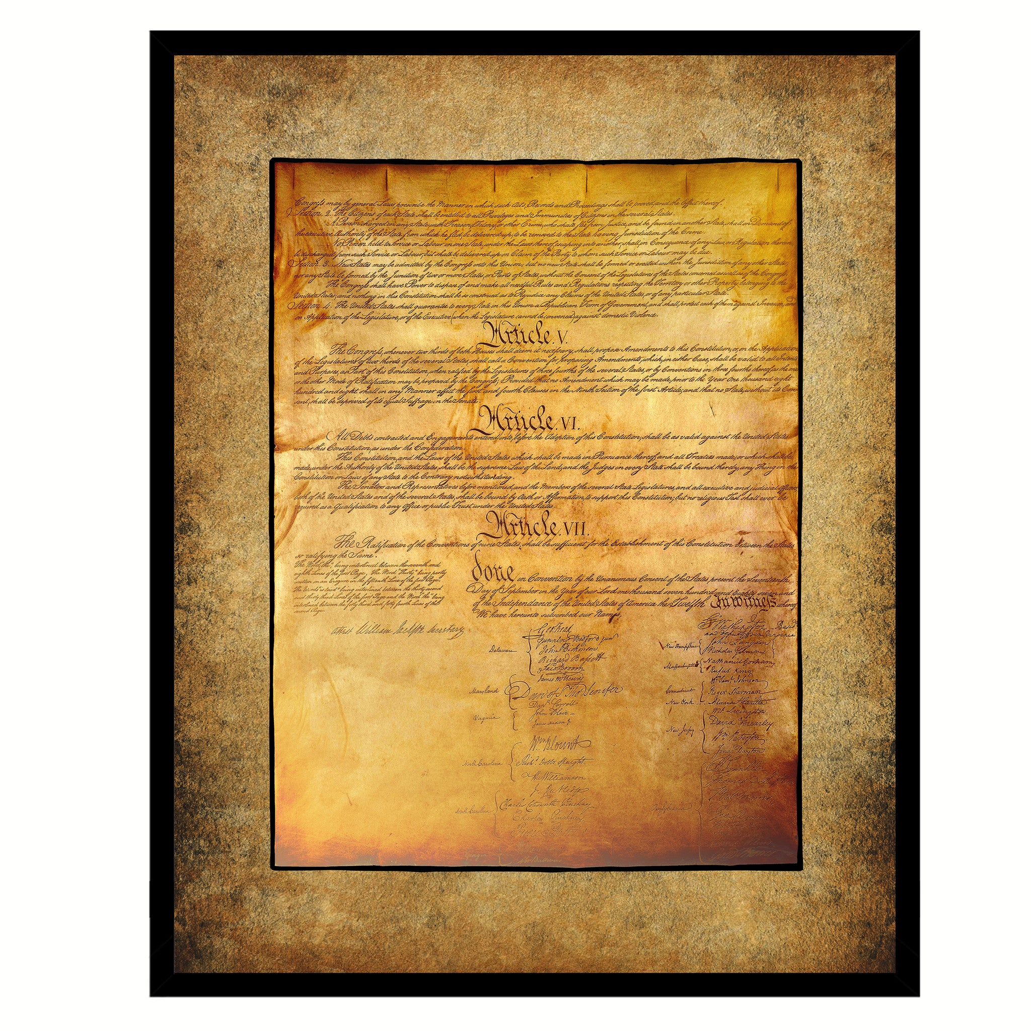 US Constitution We The People Wall Art Home Décor Frame – SpotColorArt